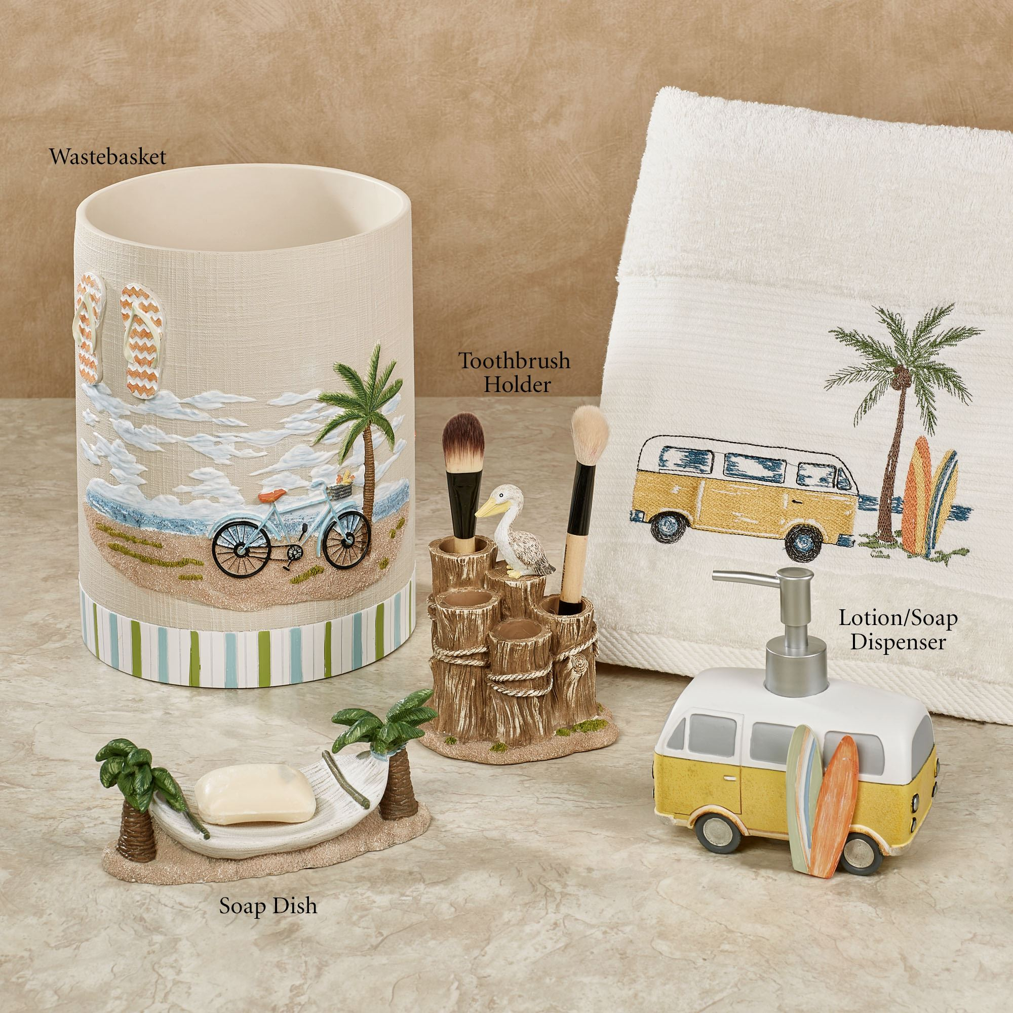 Shorething retro beach themed bath accessories for Beach themed bathroom sets