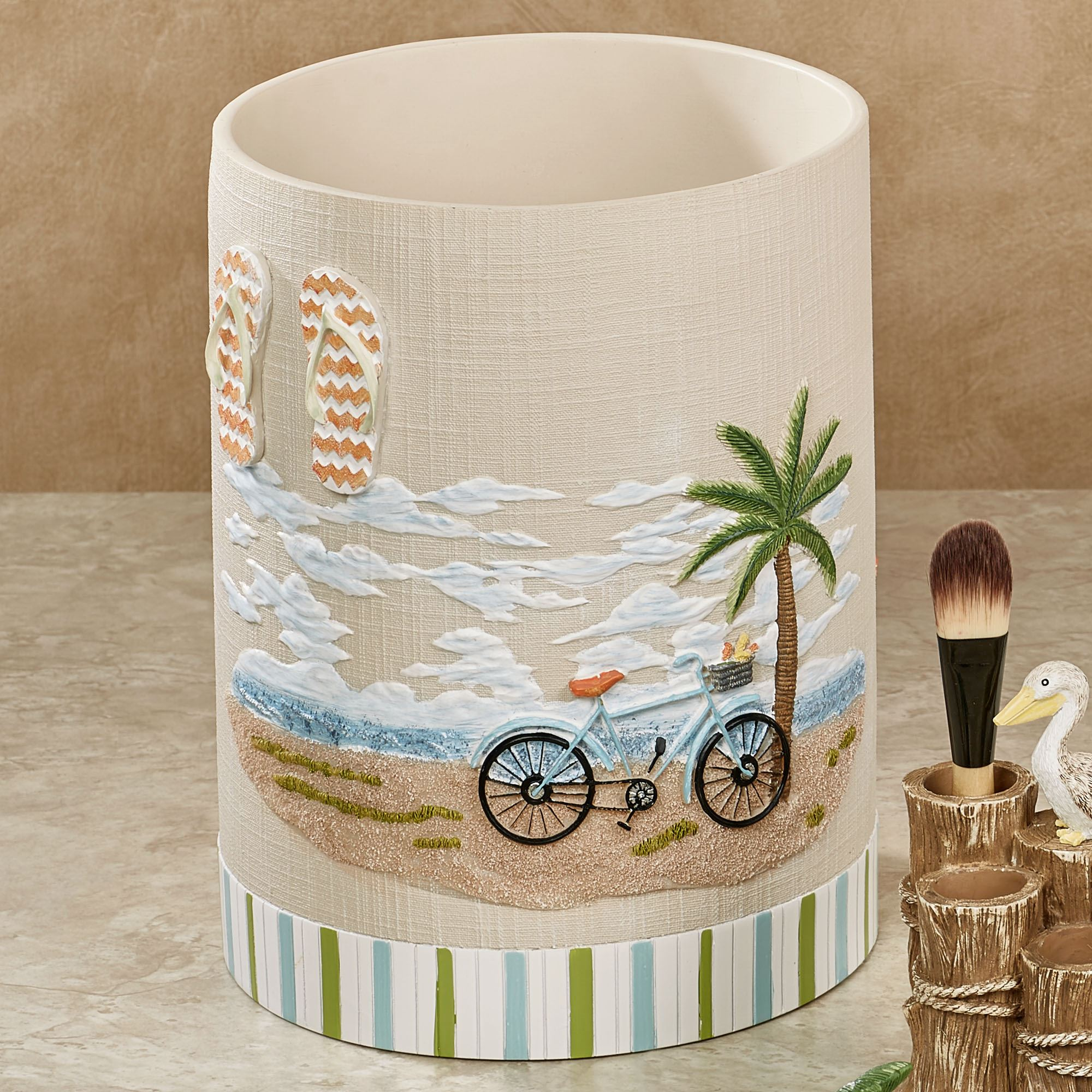 Shorething retro beach themed bath accessories - Cool wastebaskets ...