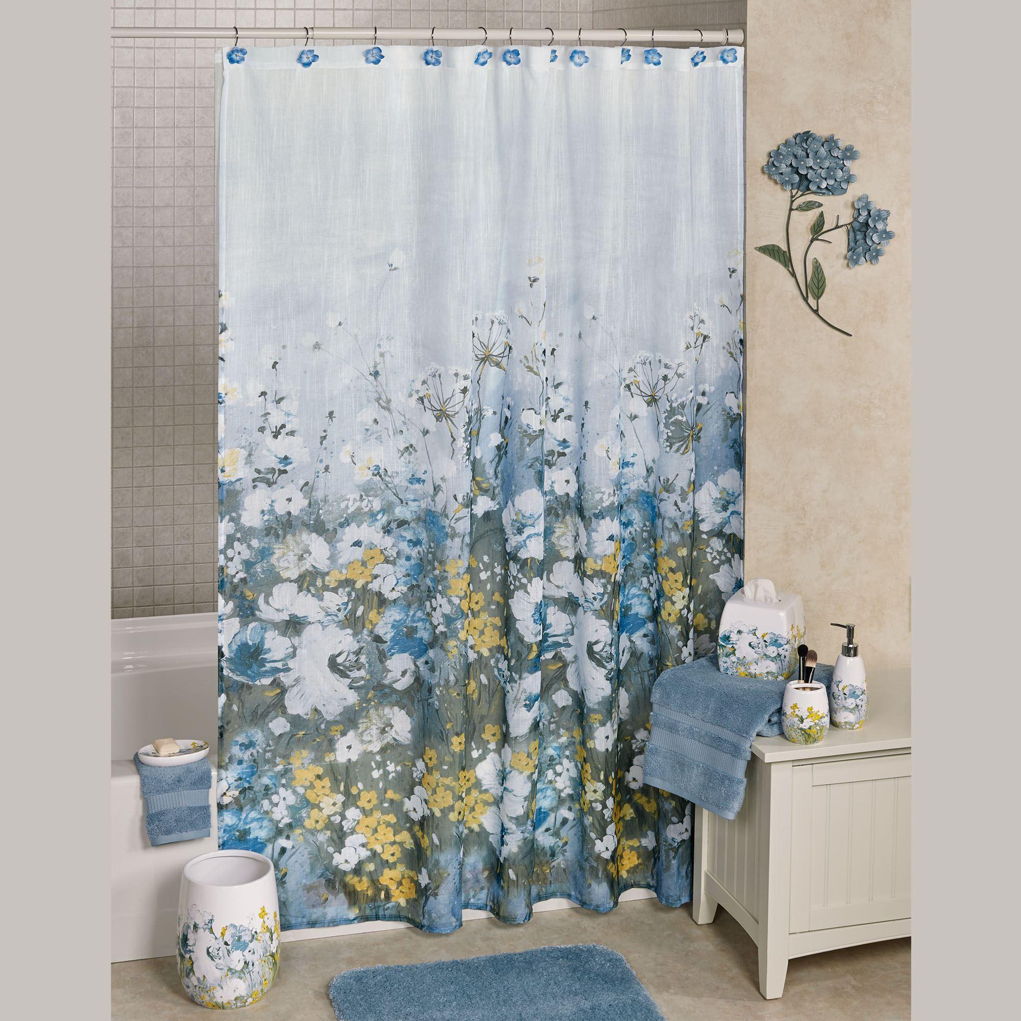 Anna Blue Semi Sheer Shower Curtain Multi Bright 70 X 72