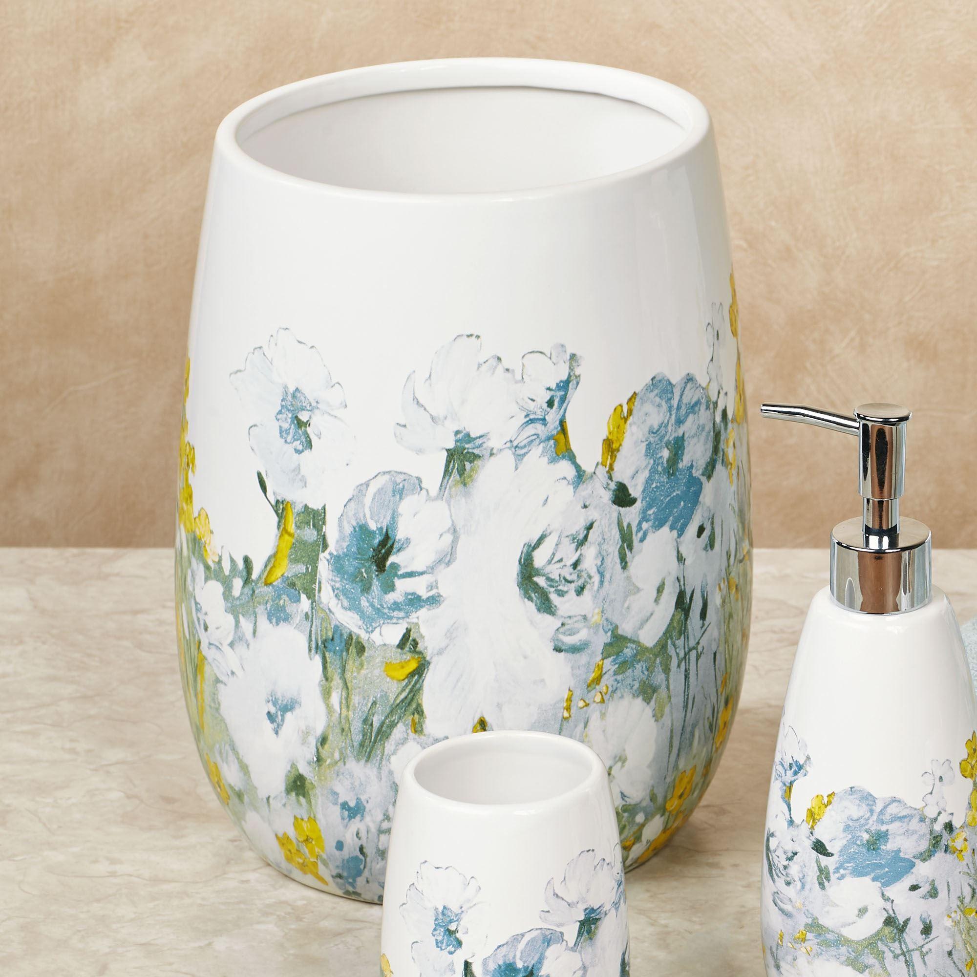 Anna blue floral ceramic bath accessories - Anna s linens bathroom accessories ...