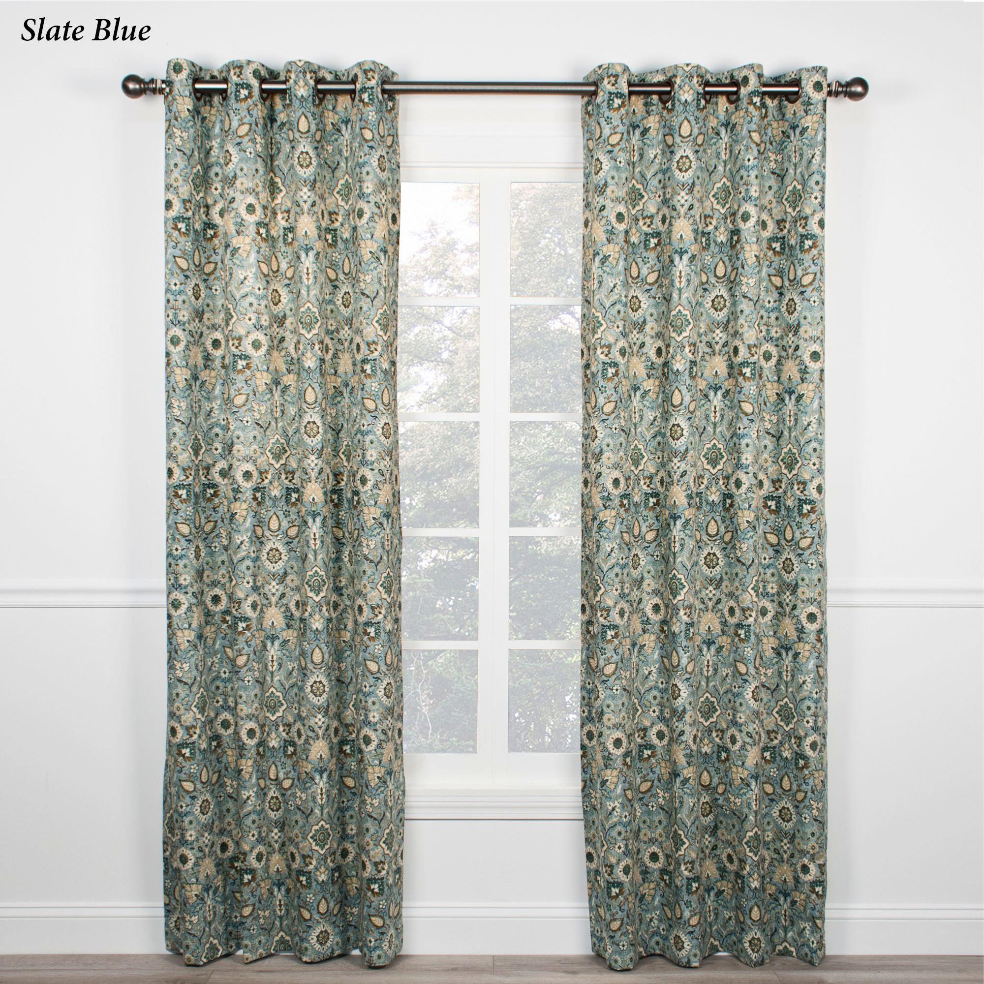 Ellia Jacobean Floral Grommet Curtains. Ellia Grommet Curtain Pair. Click  To Expand