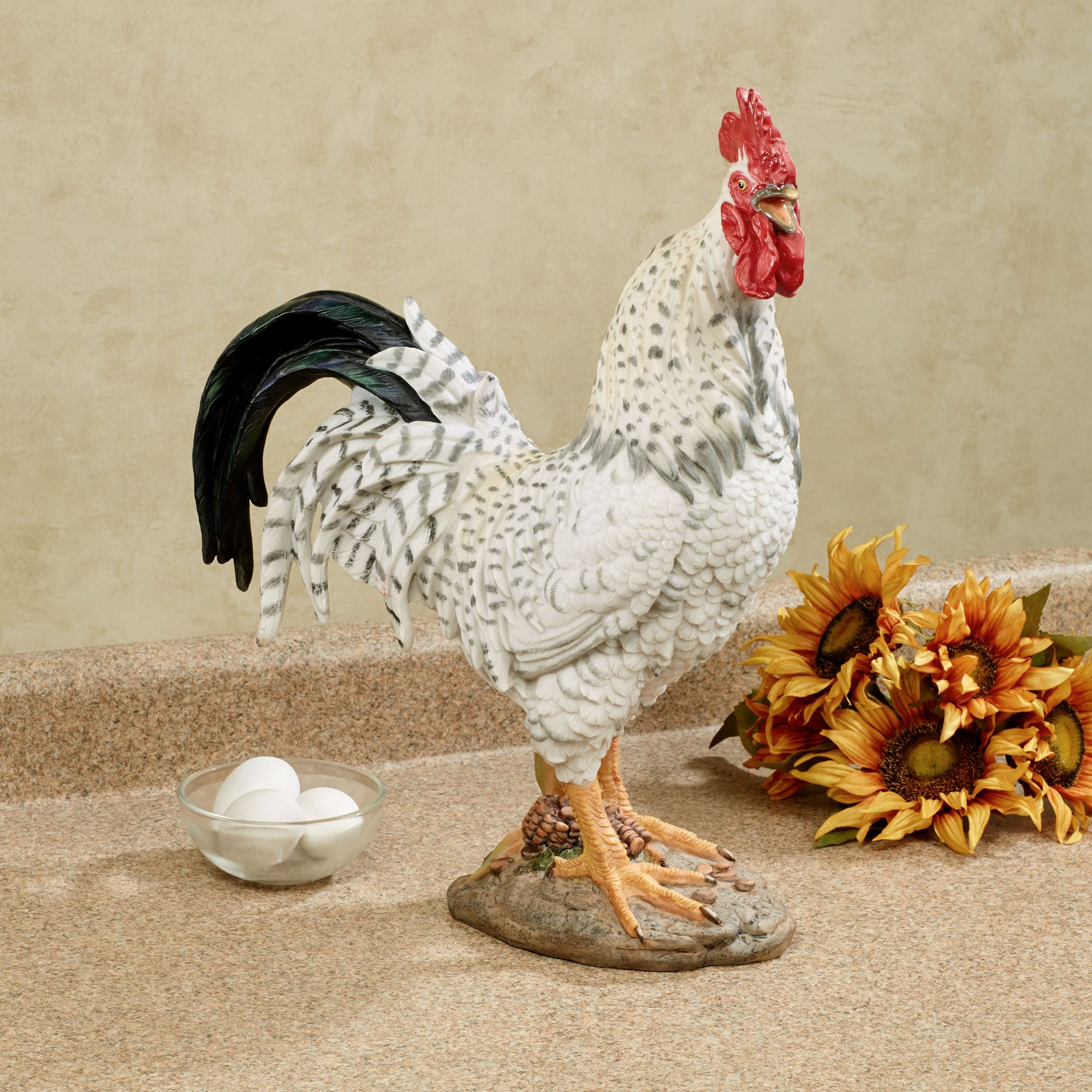 Wild Rooster Black And White Table Sculpture