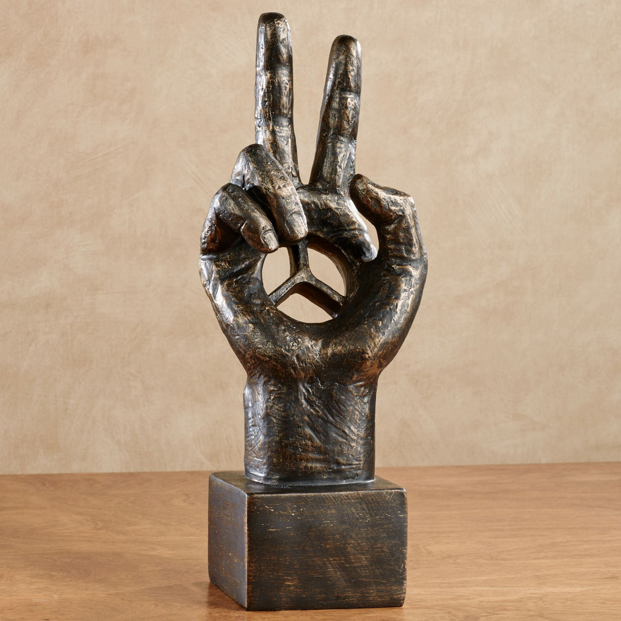 Peace Sign Hand Table Sculpture