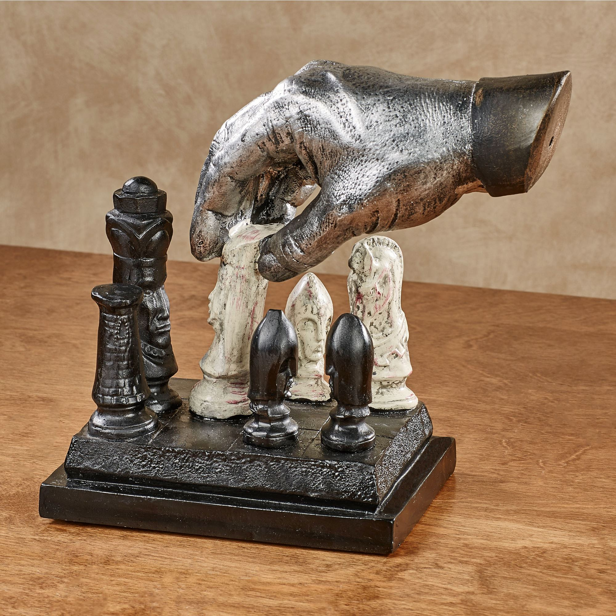 Checkmate chess player hand table sculpture