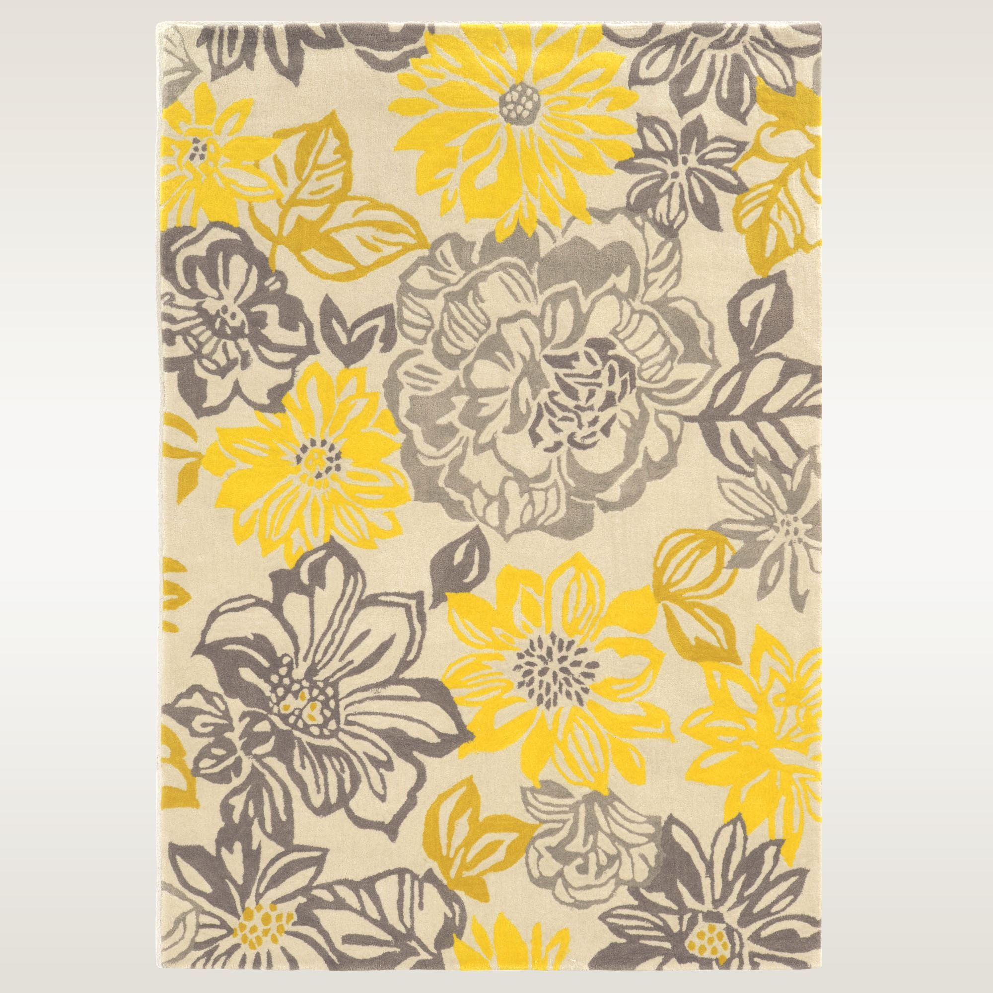 High Quality Happy Place Gray And Yellow Floral Area Rugs
