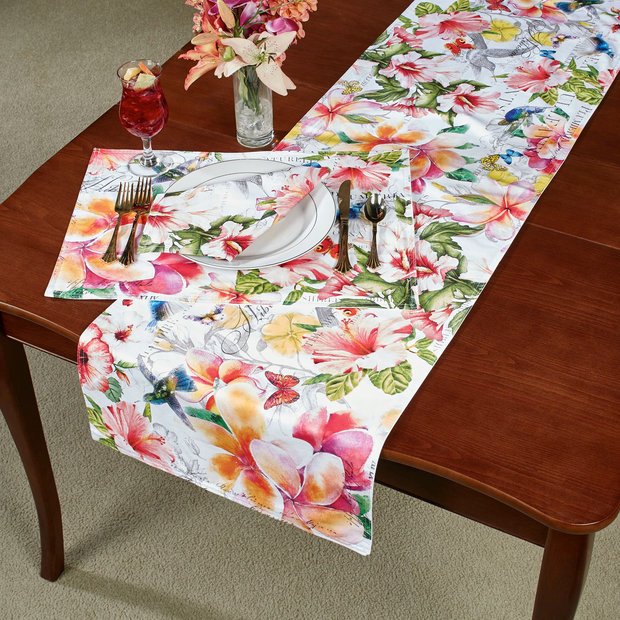 """NEW Palm Trees Table Runner Tropical Linens Table Covering 13/"""" x 68/"""""""