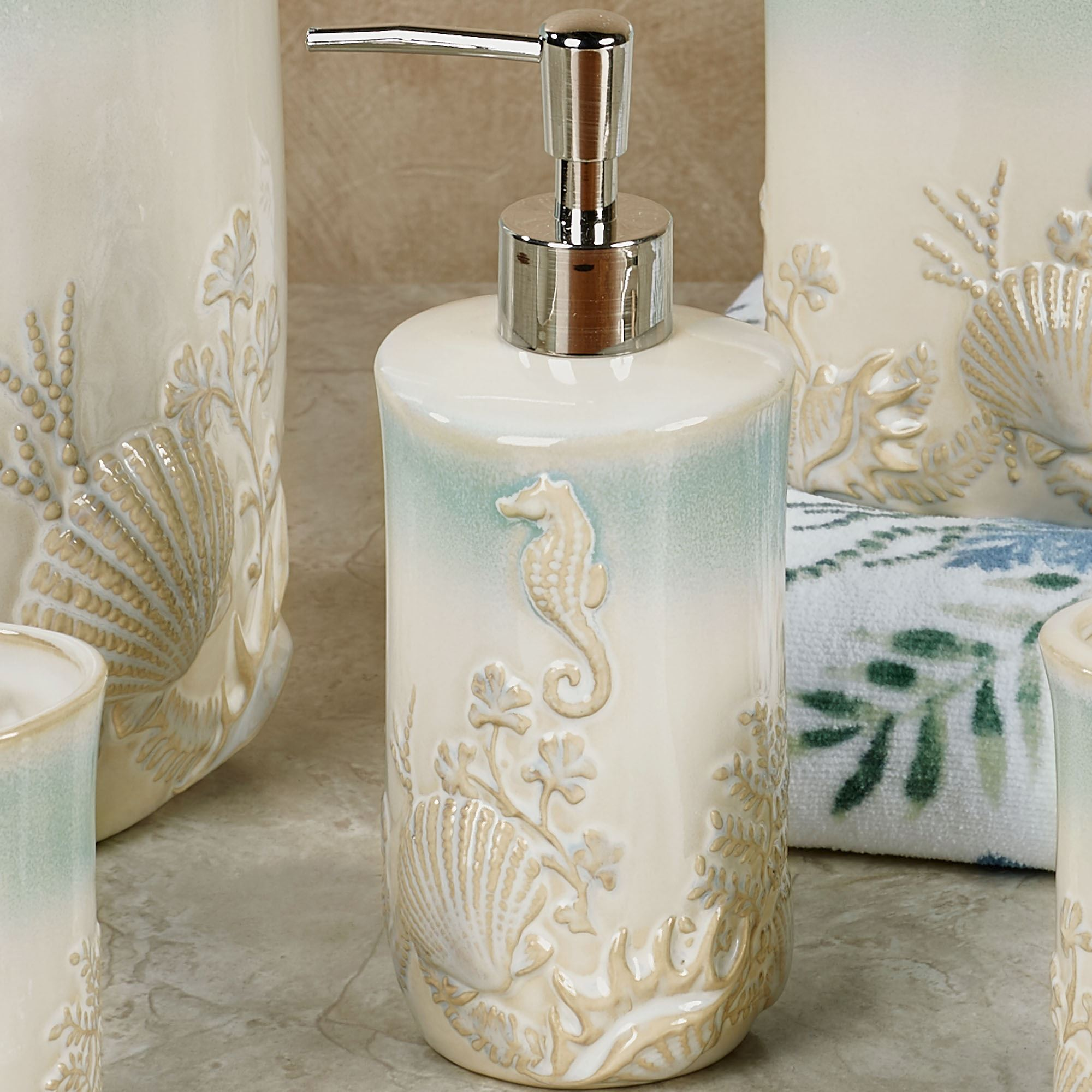 Pearl Seaweed Ombre Ocean Themed Bath Accessories