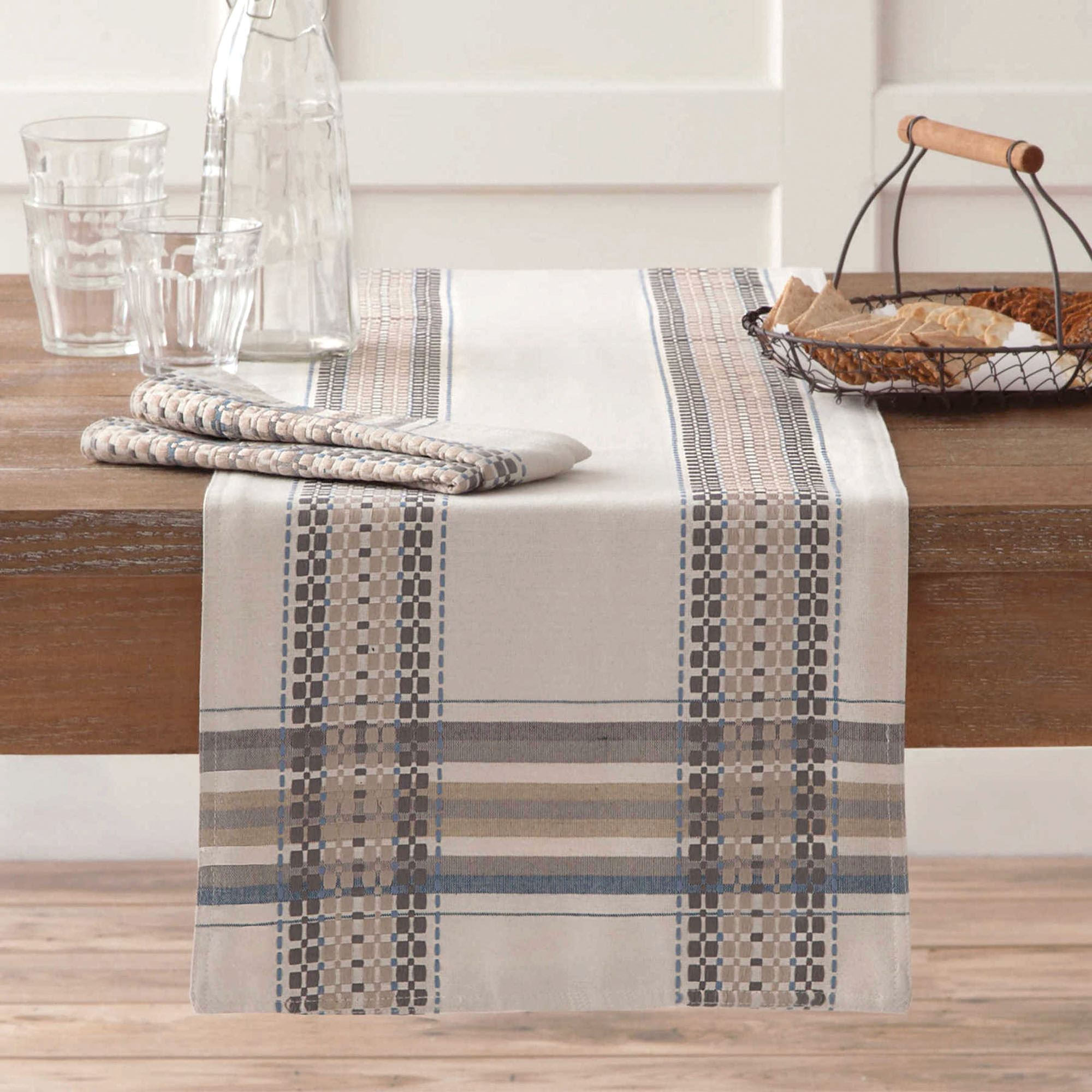 French Picnic Striped Table Runner And Table Linens