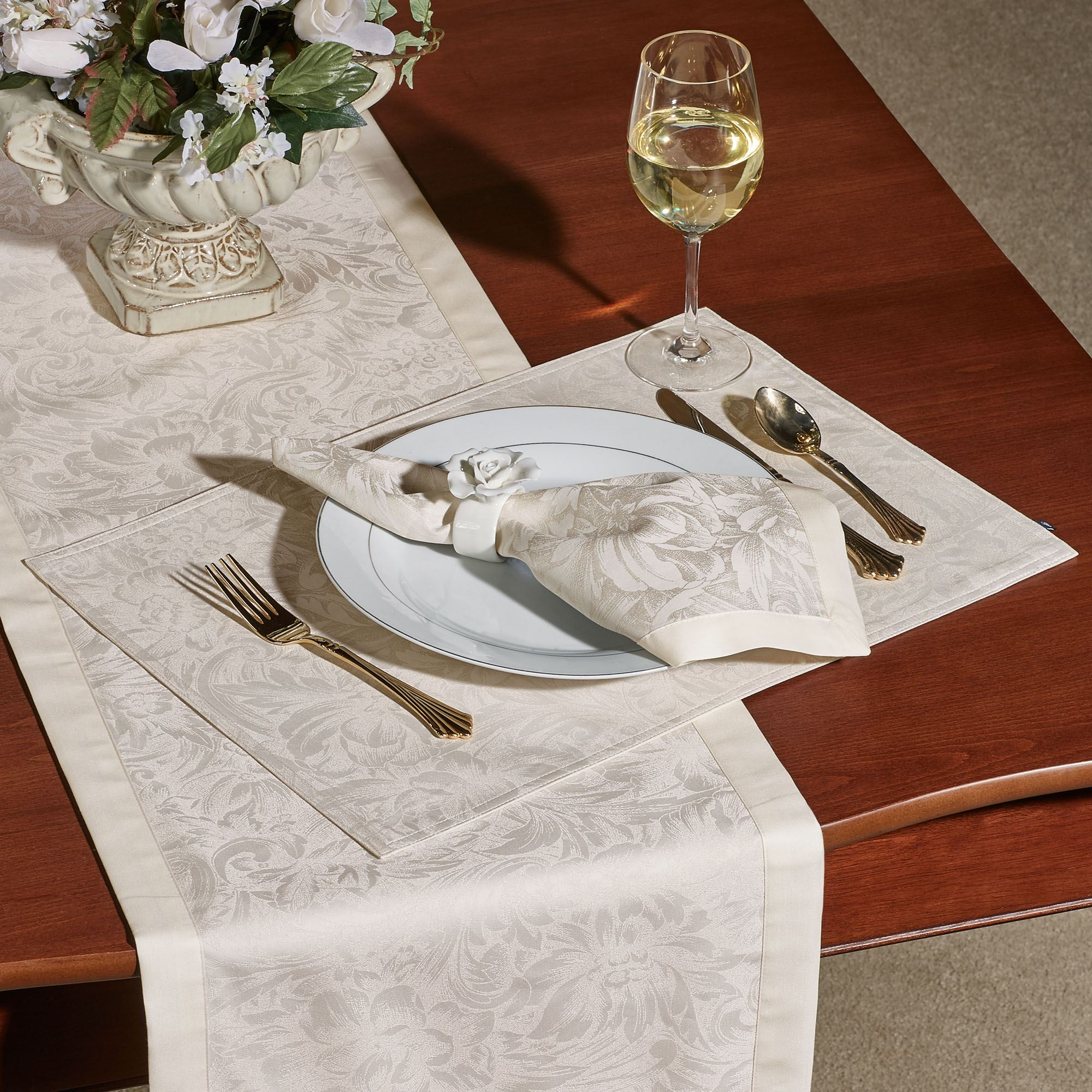 Peony Placemats Set of Four & Peony Table Runner and Table Linens by Waterford Linens
