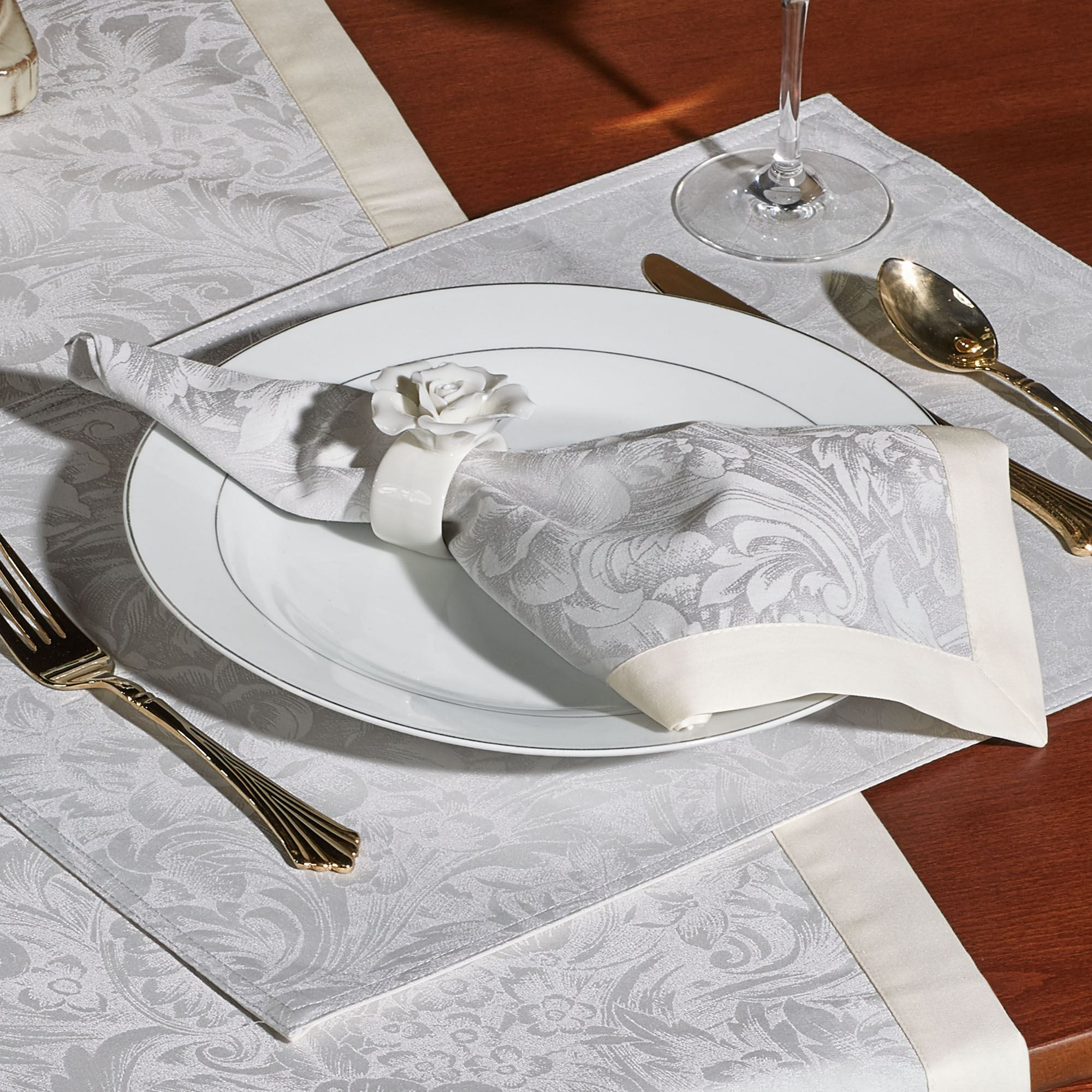Peony Napkins Set of Four & Peony Table Runner and Table Linens by Waterford Linens