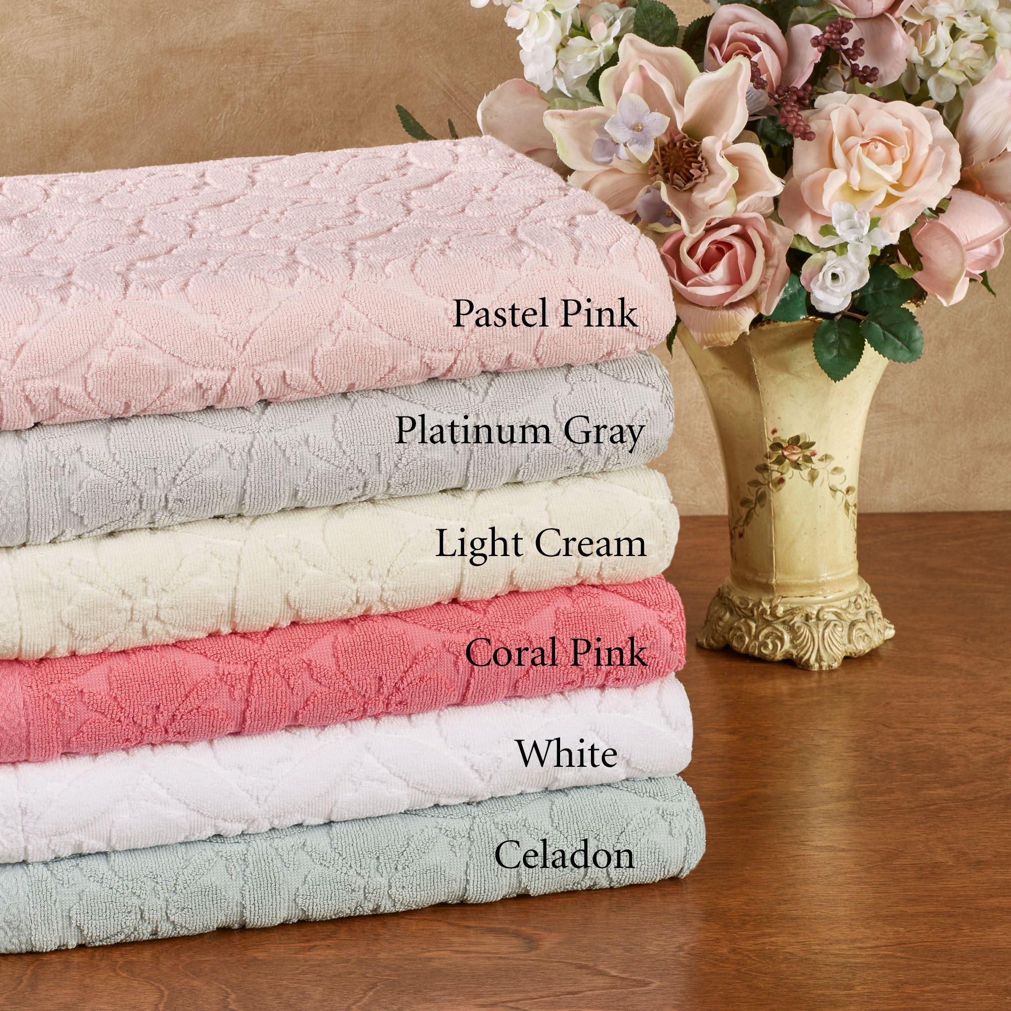 600 Gsm Perugia Sculpted Floral Bath Towel Set