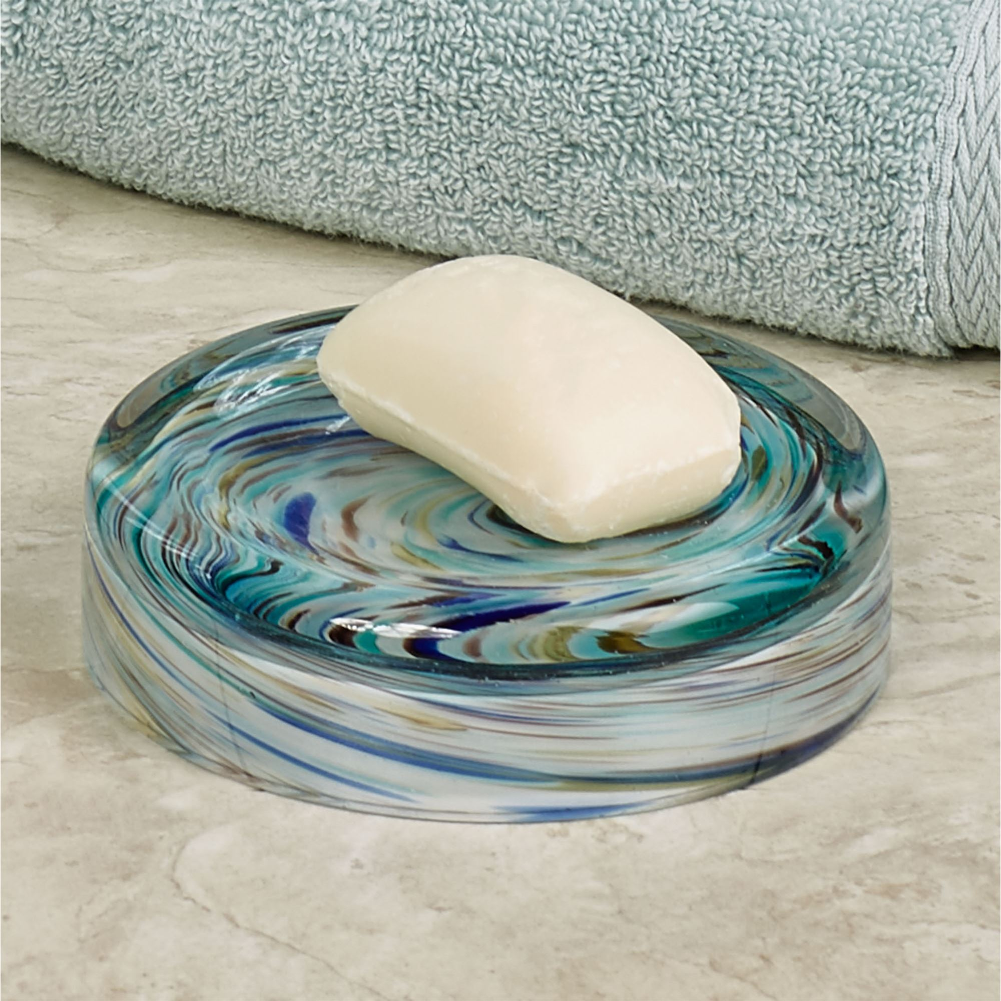 blue glass bathroom accessories. Blue Swirl Soap Dish Turquoise Glass Bathroom Accessories