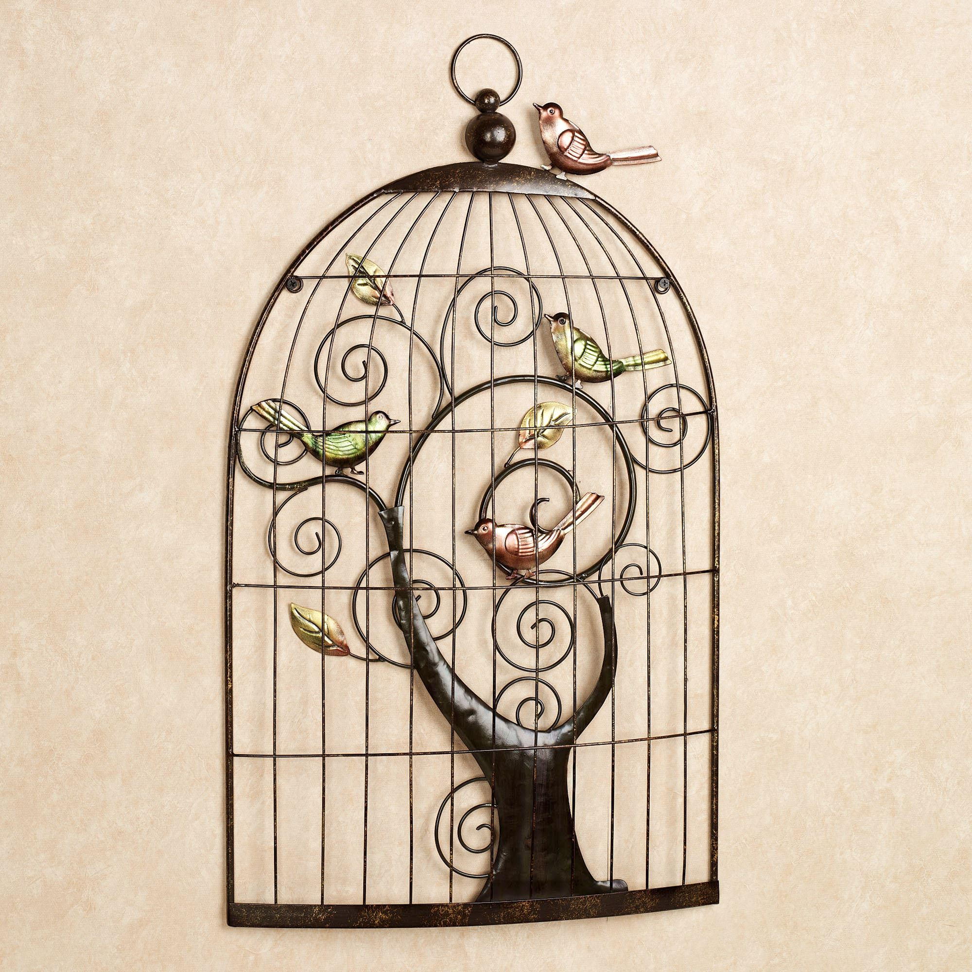 Enchanting Sonnet Birdcage Metal Wall Art Bronze Touch To Zoom