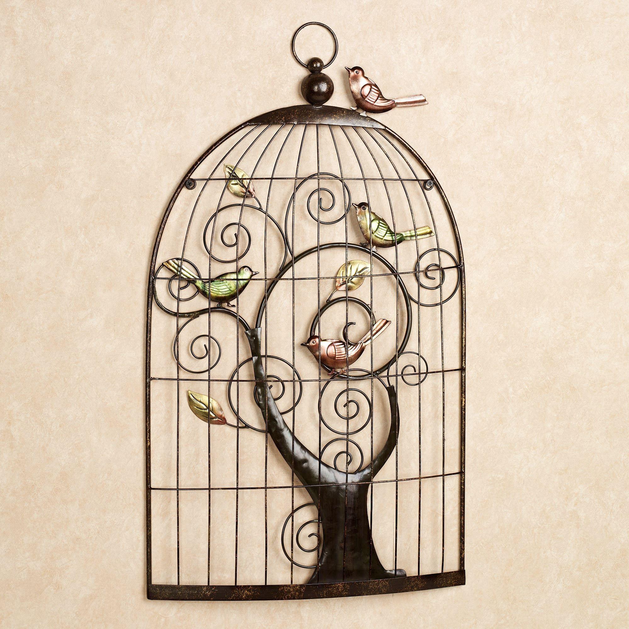 Enchanting Sonnet Birdcage Metal Wall Art