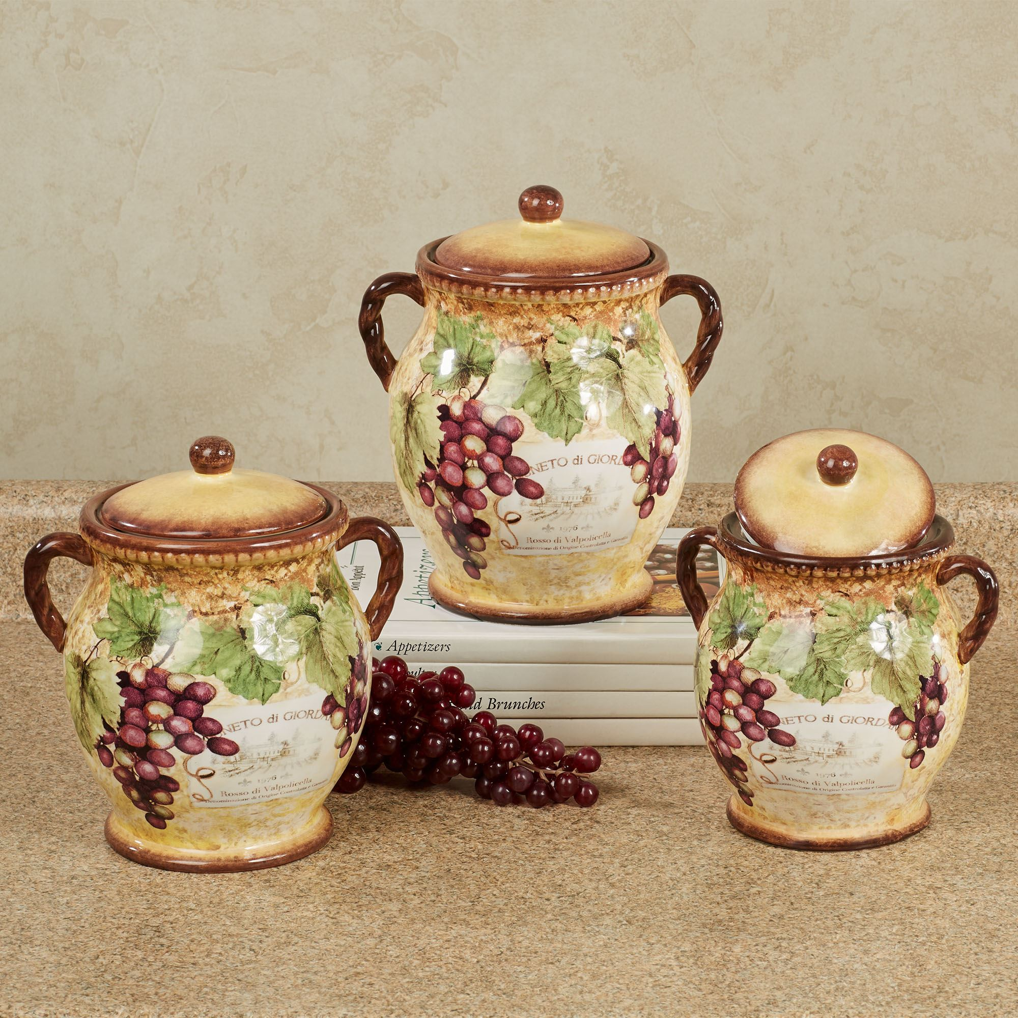 Themed Kitchen Canisters | gilded wine grape themed kitchen canister set