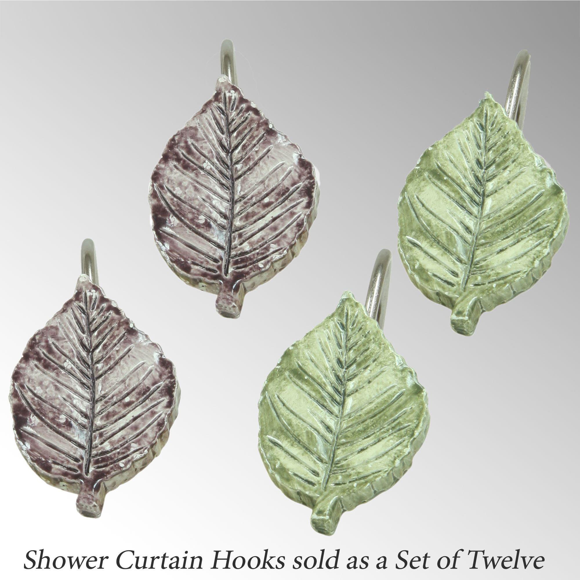 Seville Leaf Shower Hooks Multi Earth 12 Piece Set