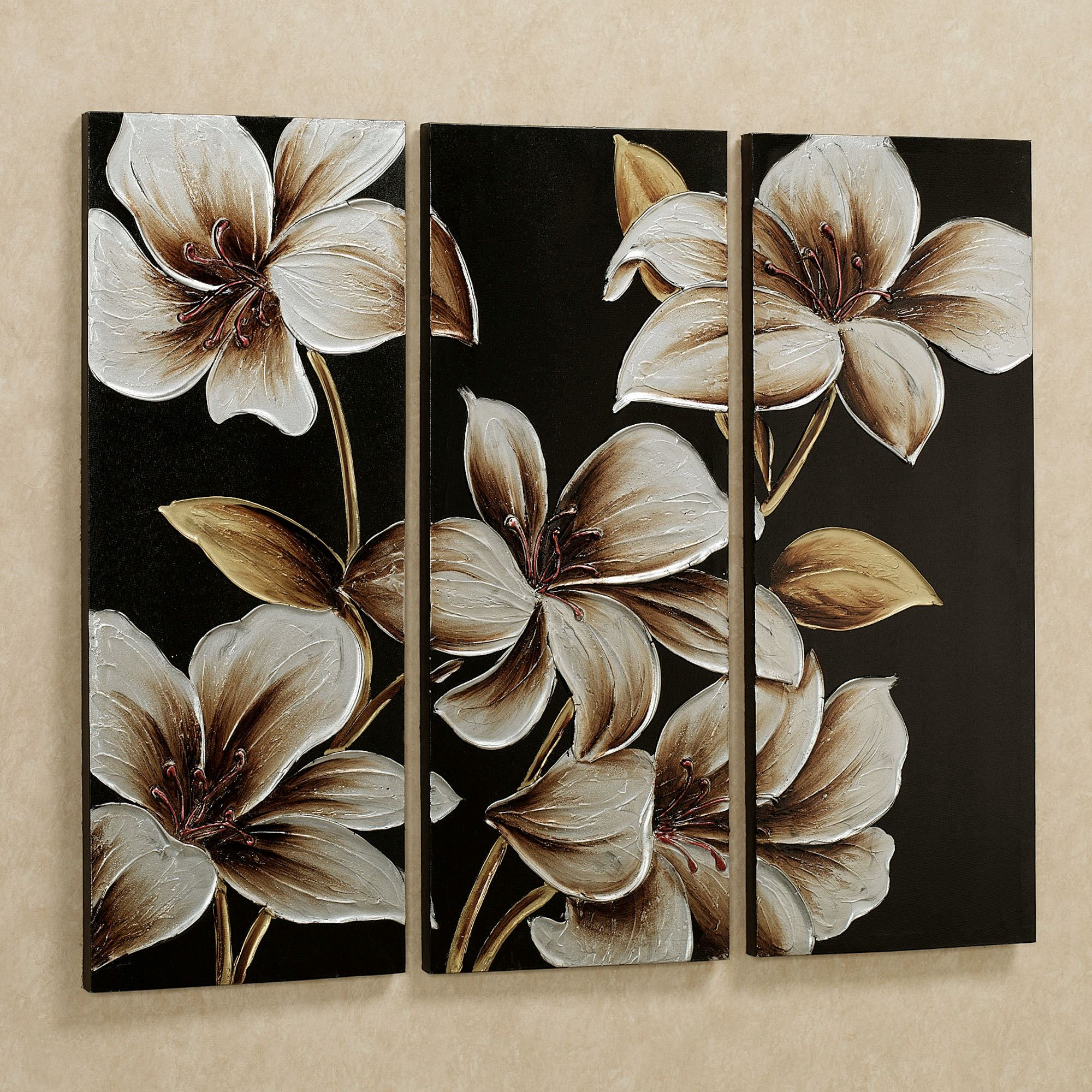 Lilies at dusk floral triptych canvas art set for Set of three canvas paintings