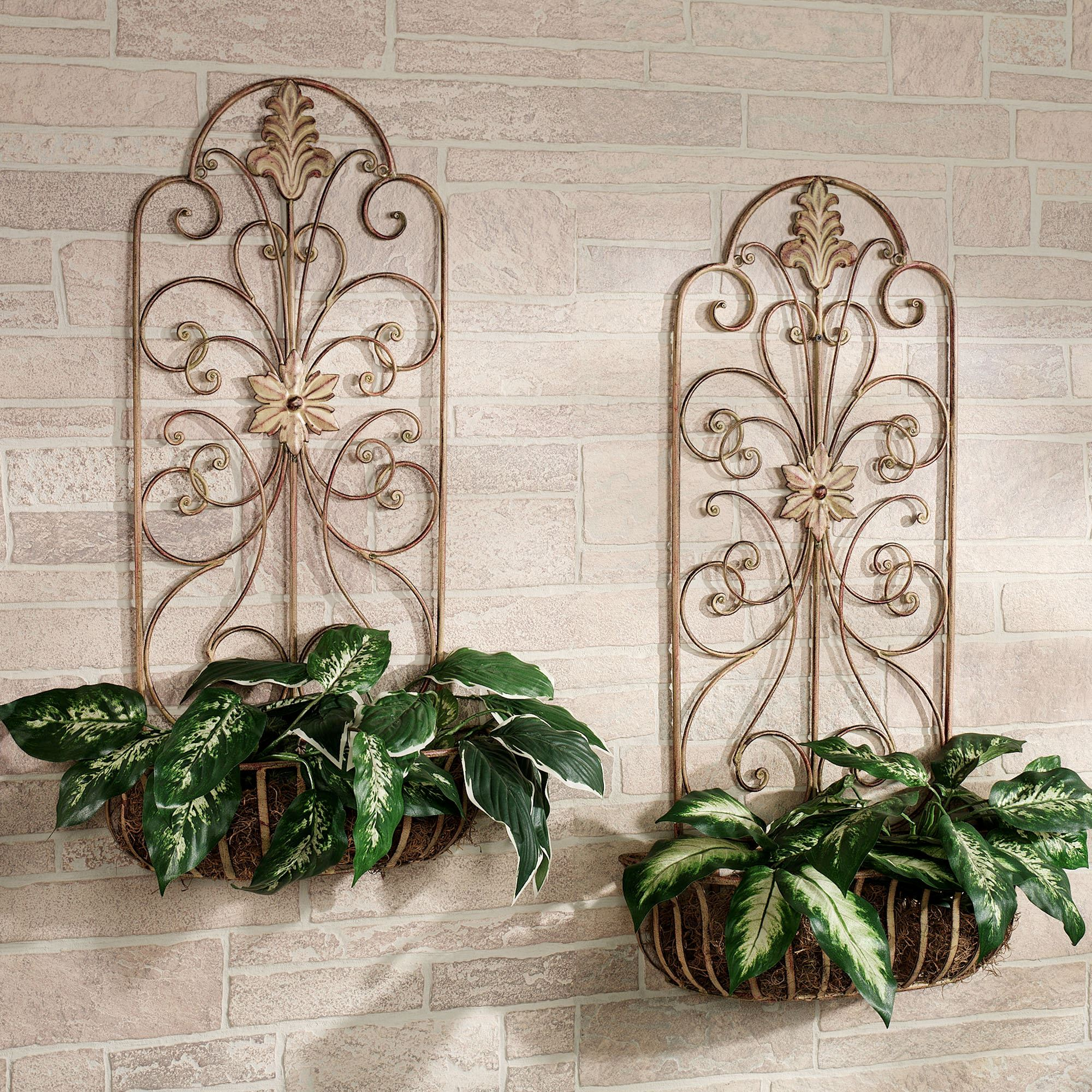 Carrolton indoor outdoor metal wall planter set for Decorative garden accents