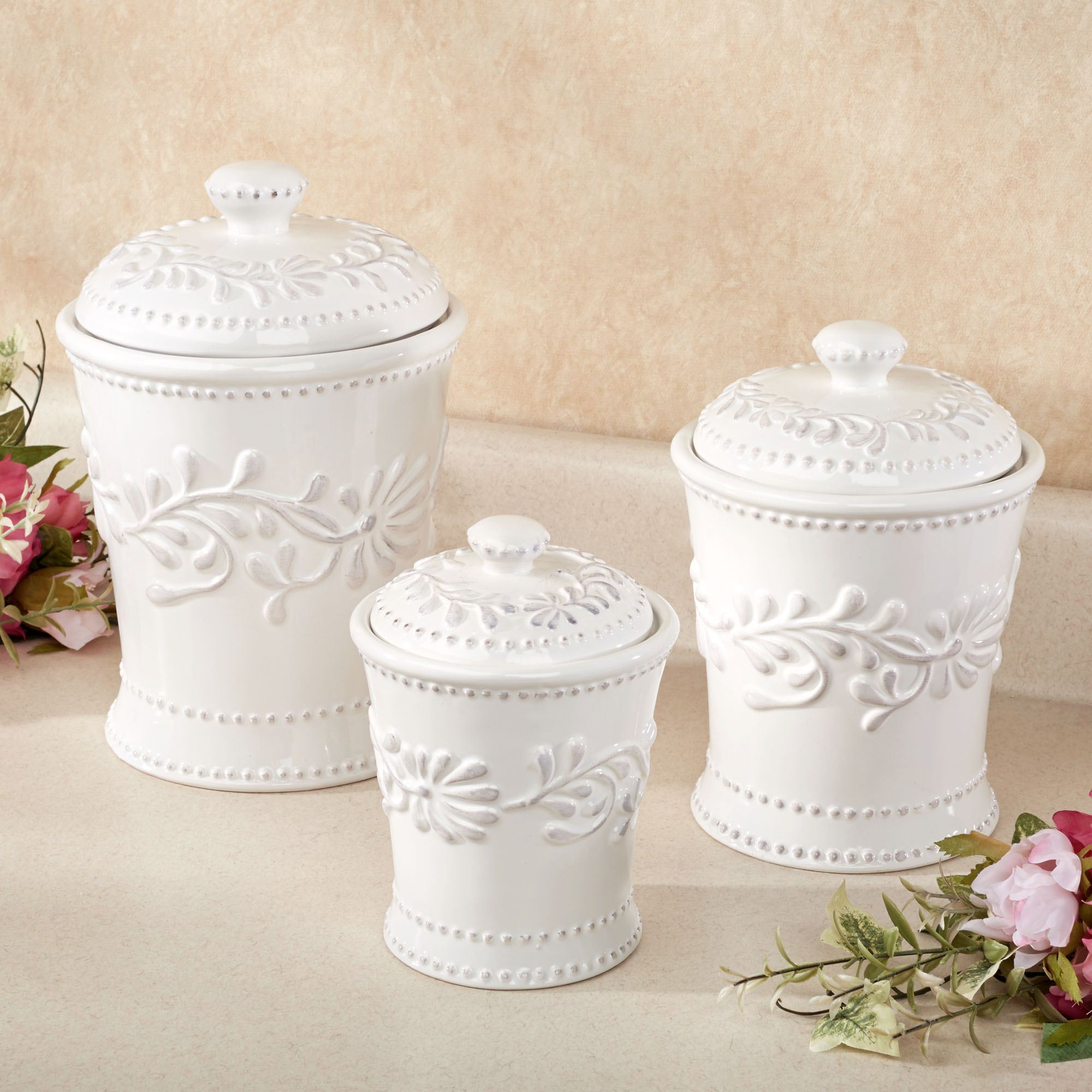 Anca Leaf Kitchen Canister Set White Set Of Three. Click To Expand