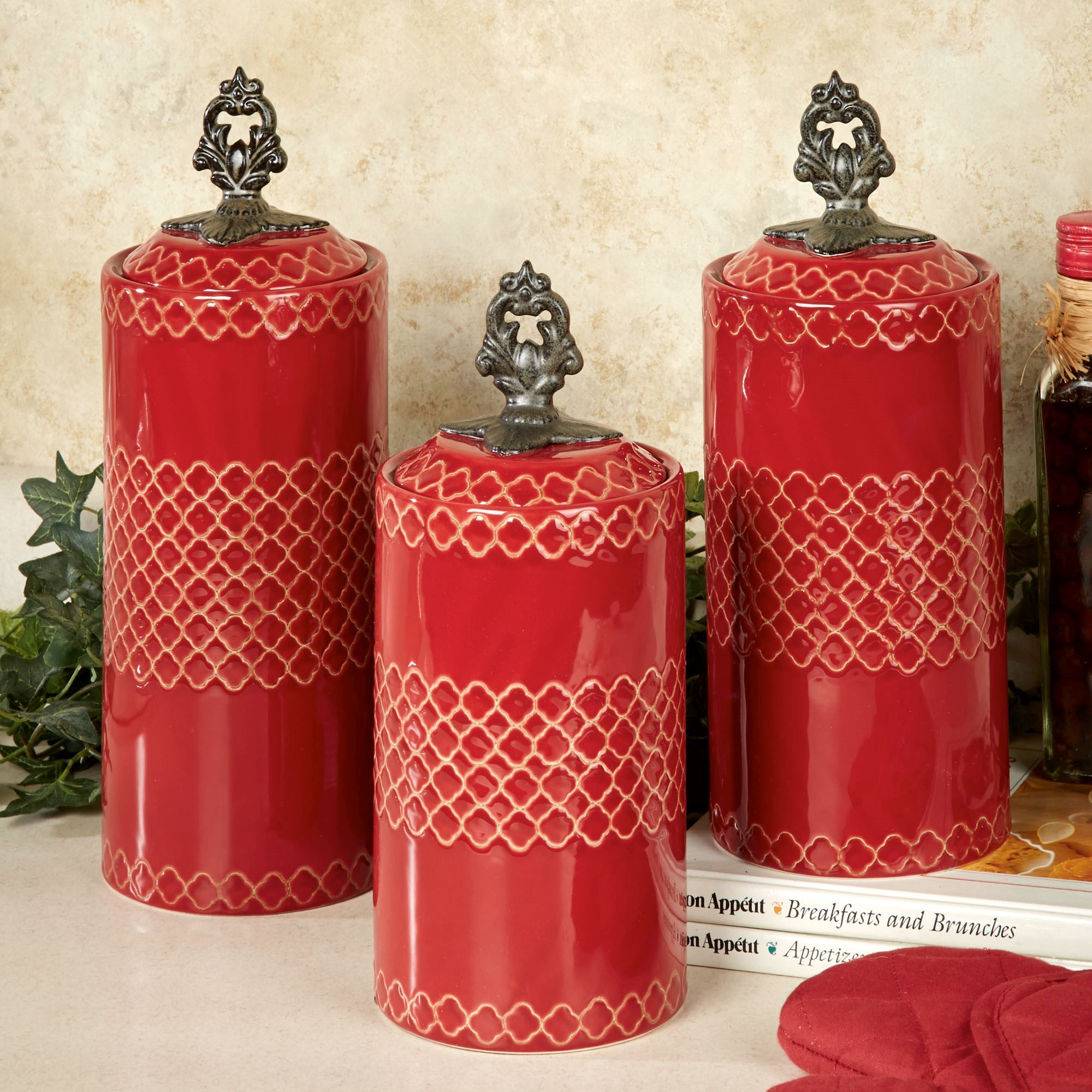 Safiya moroccan red kitchen canister set for Kitchen set red