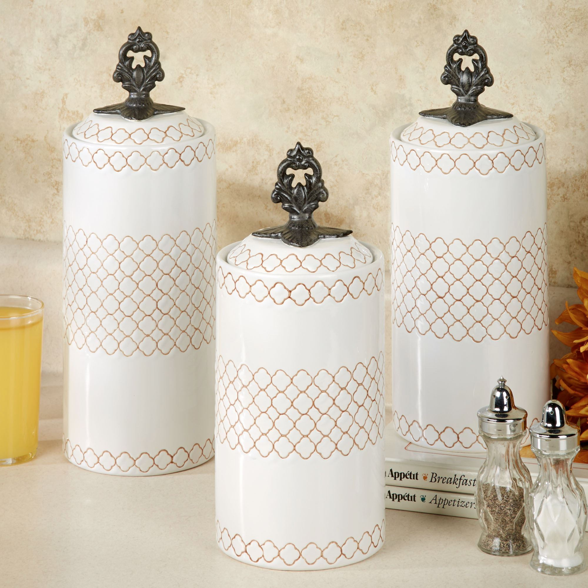 Safiya Moroccan White Kitchen Canister Set
