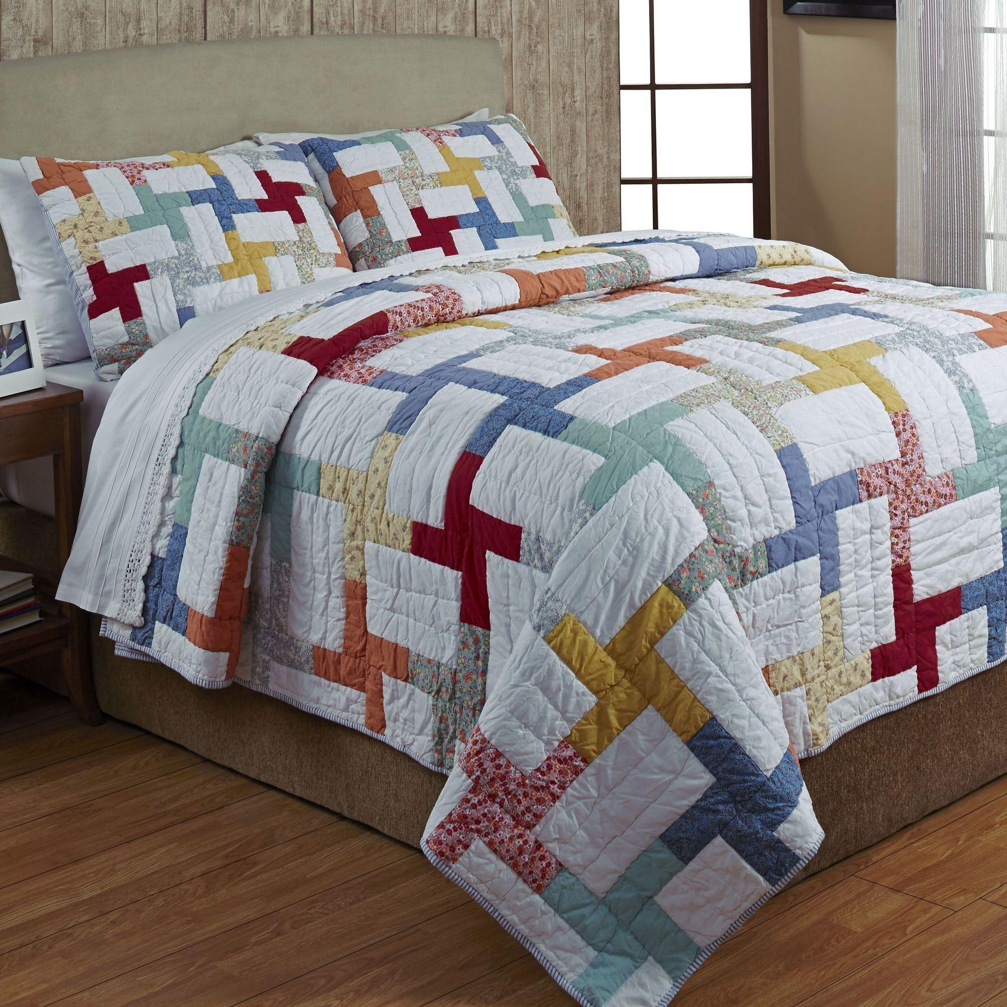Maylen Multicolored Patchwork Quilt Set : quilted patchwork bedspreads - Adamdwight.com