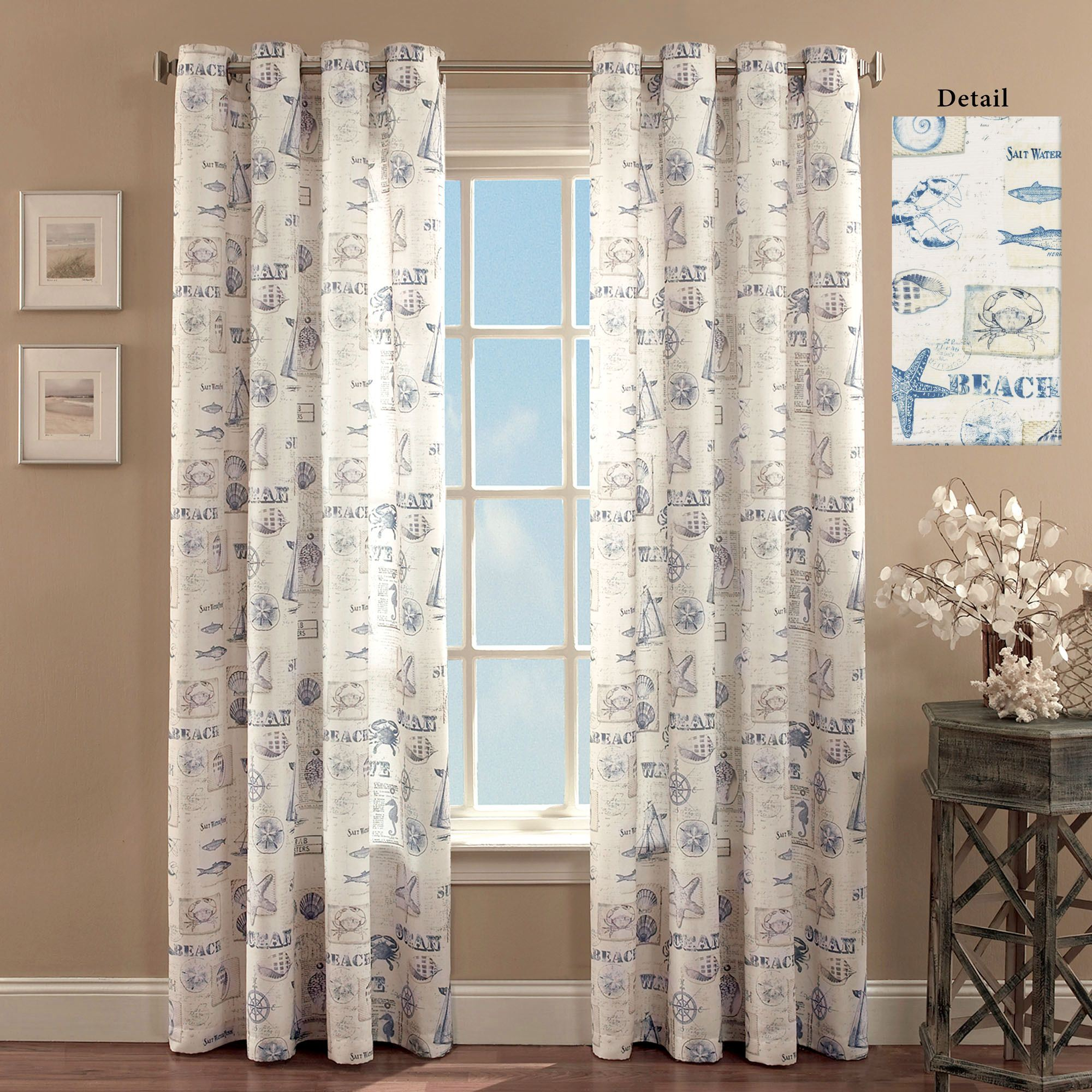 By The Seaside Coastal Grommet Curtain Panels