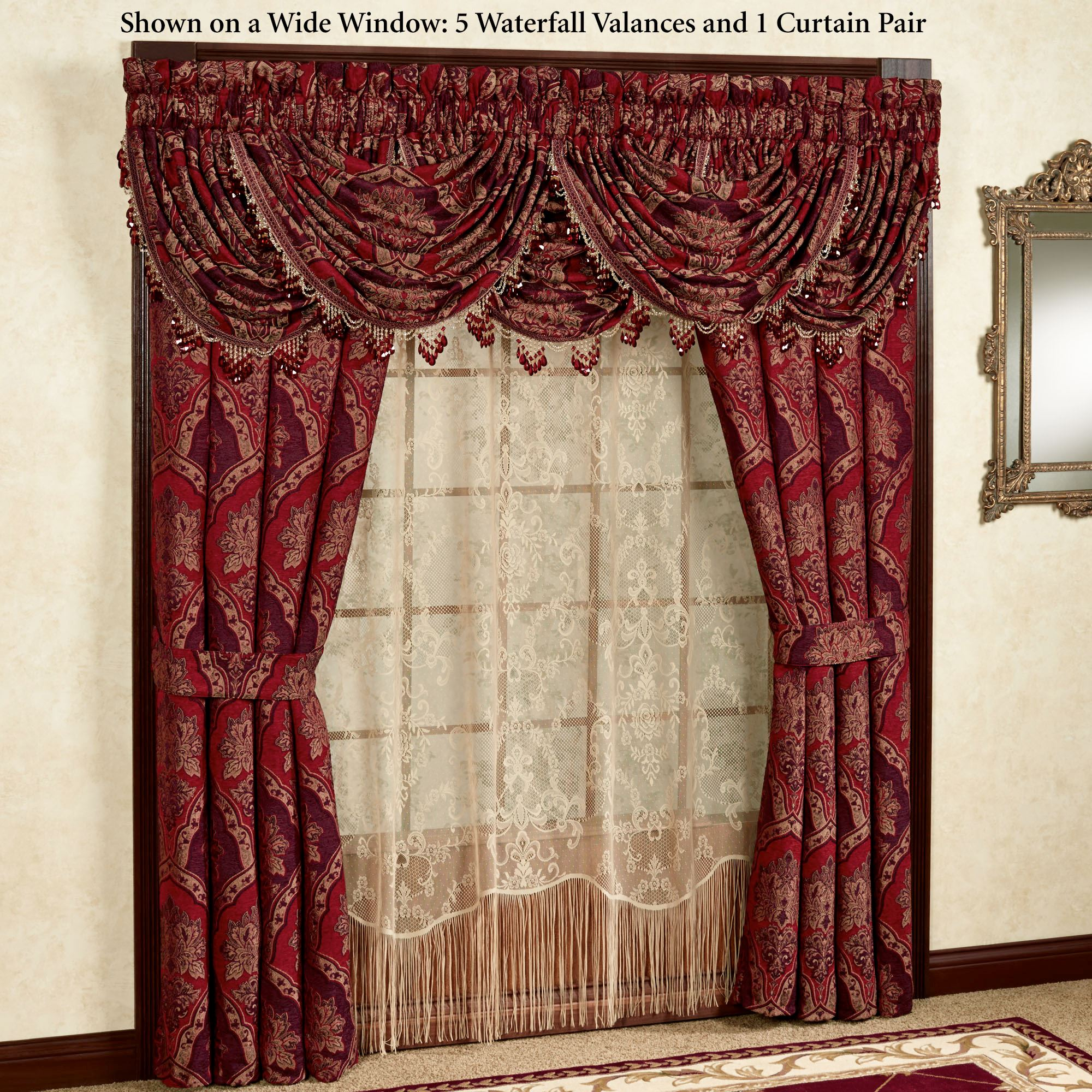 jabot drapes and pin euro draperies over pleated victorian drapery panels swag