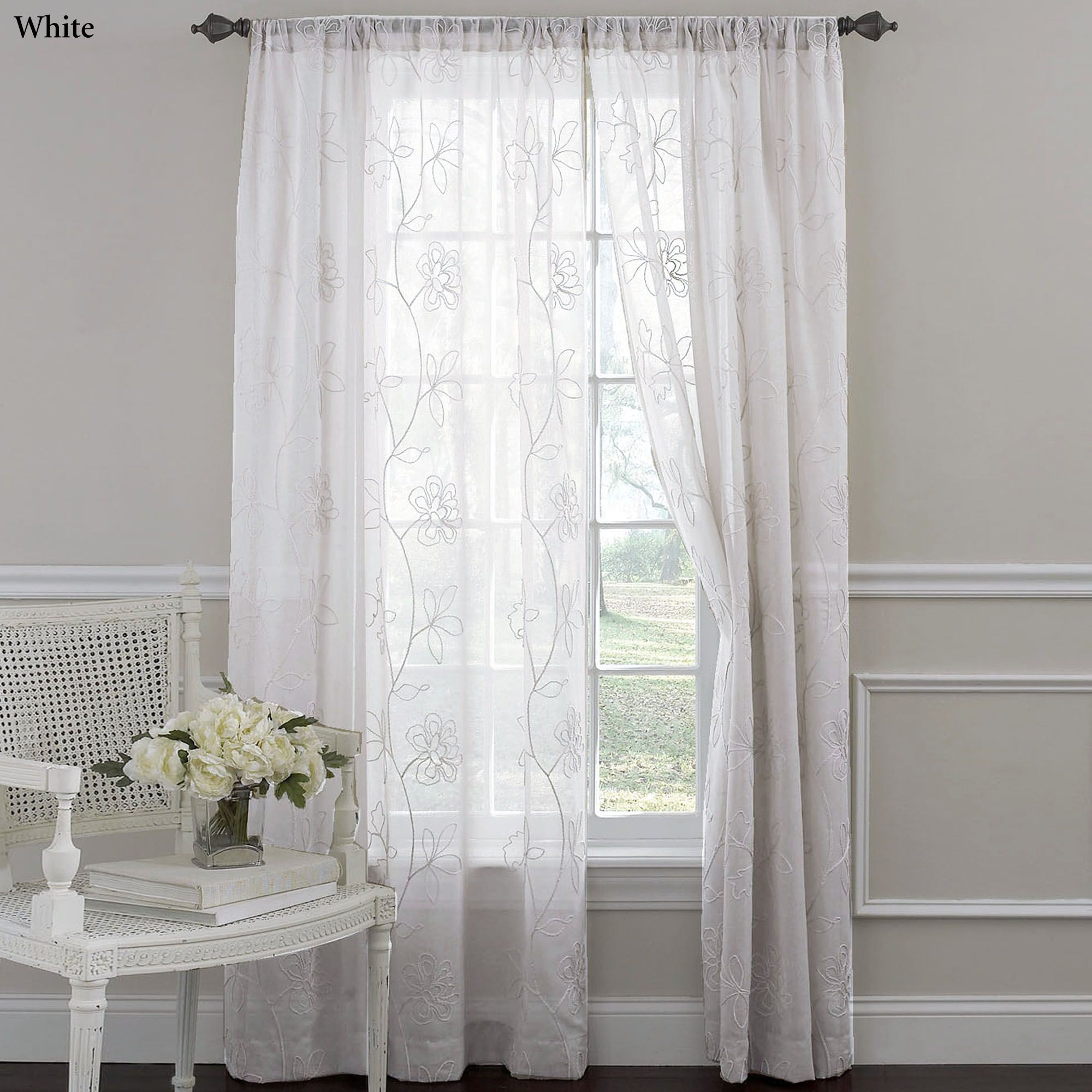 laura ashley frosting embroidered sheer curtain panels. Black Bedroom Furniture Sets. Home Design Ideas