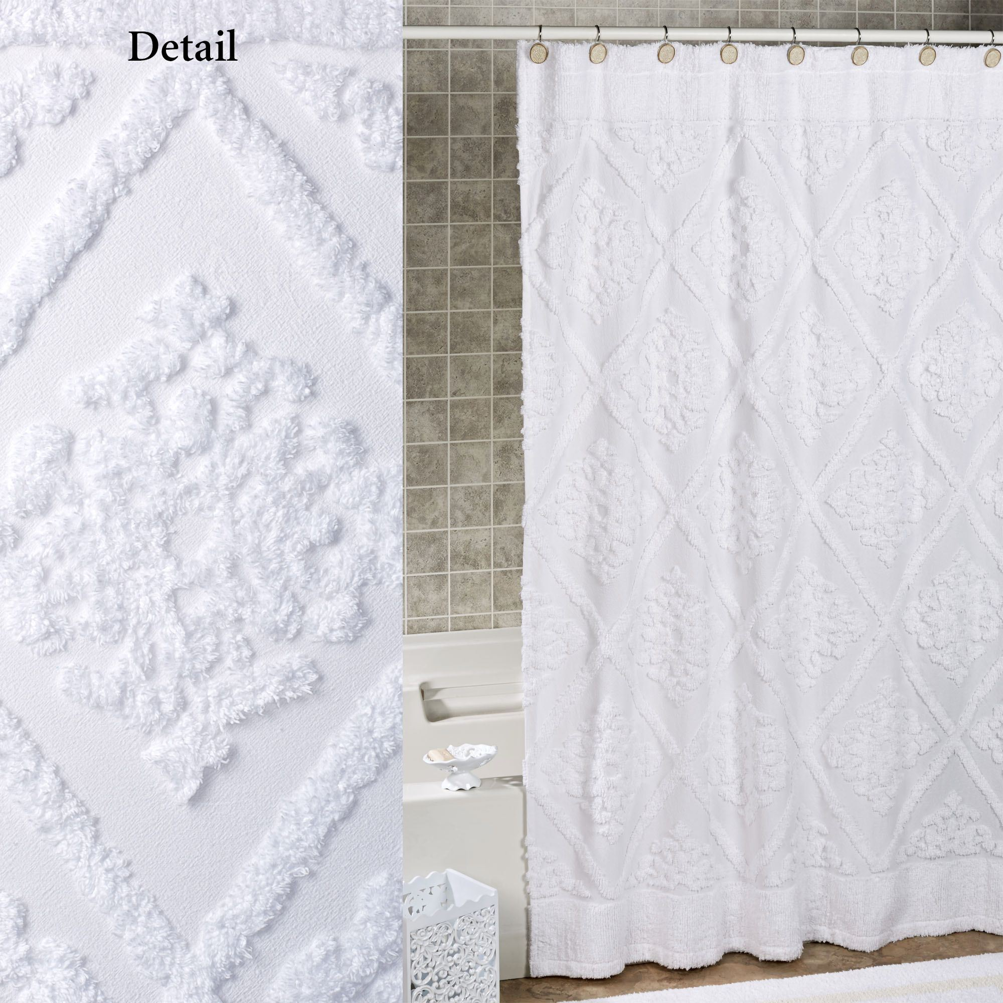 Belle White Cotton Chenille Shower Curtain
