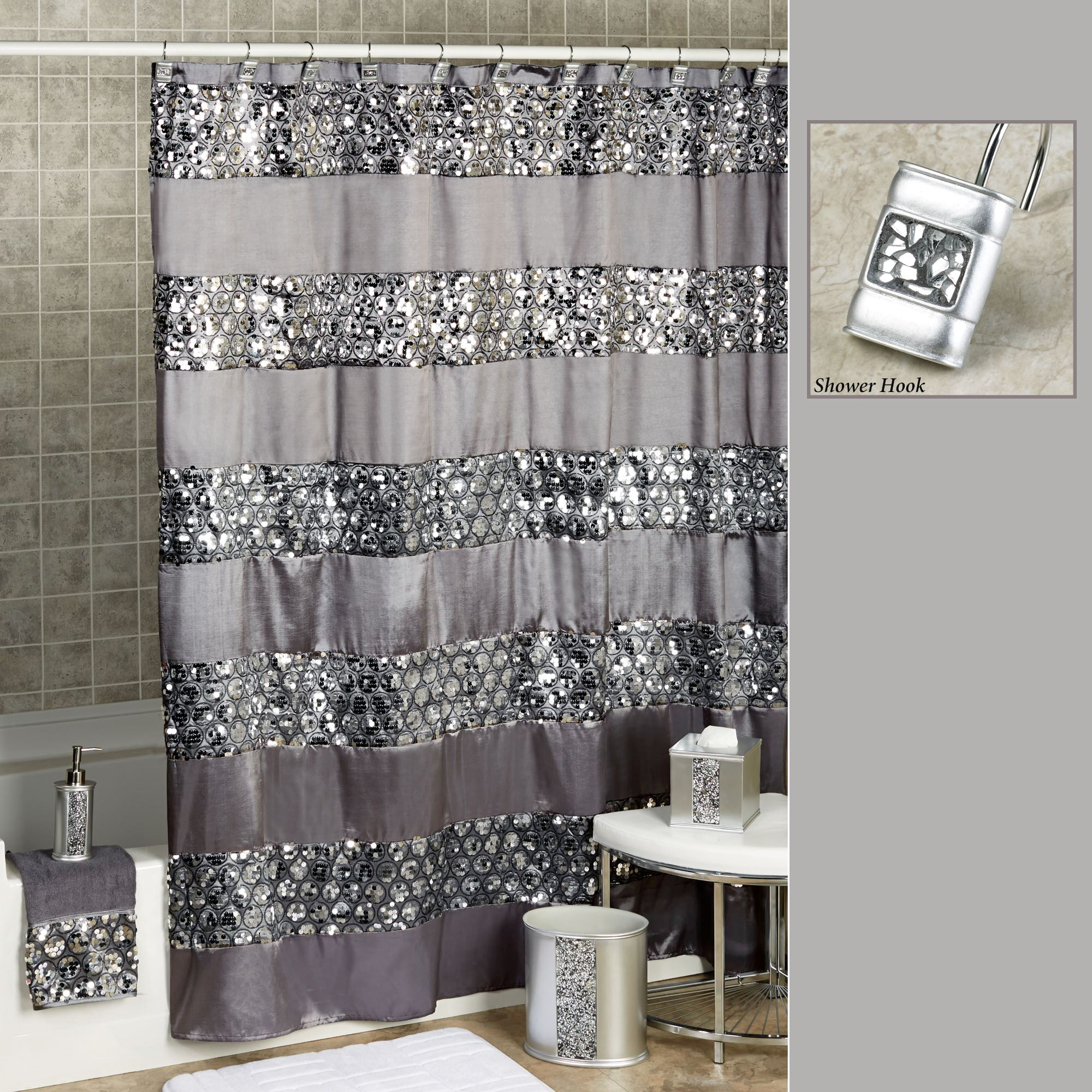 black and gray shower curtain. Sinatra Sequined Silver Shower Curtain 95  Brown And Grey Image Of Stripes