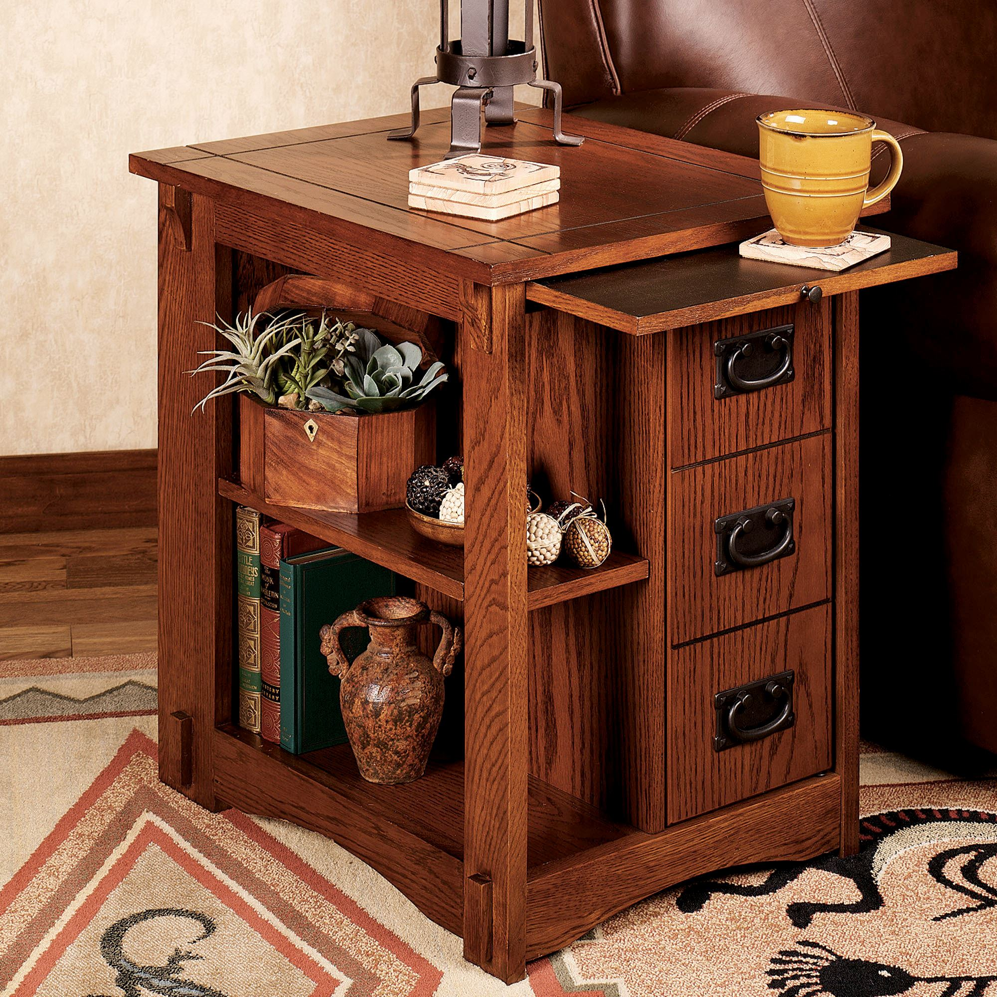 Mission Red Oak Magazine End Table