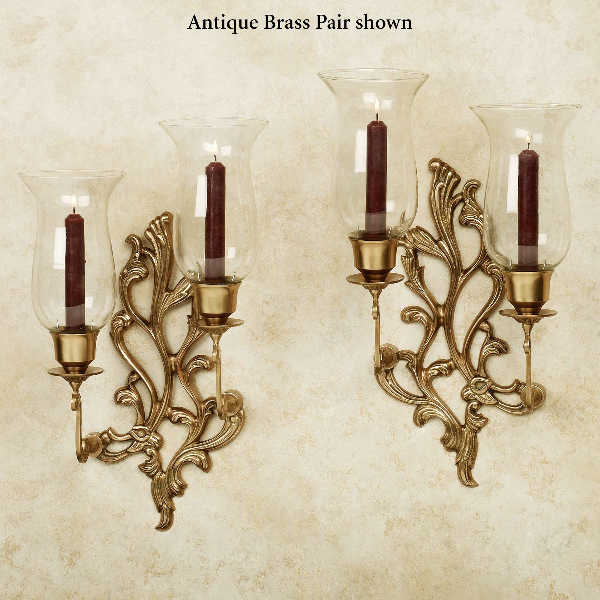 Concetta Antique Brass Double Wall Sconce Pair