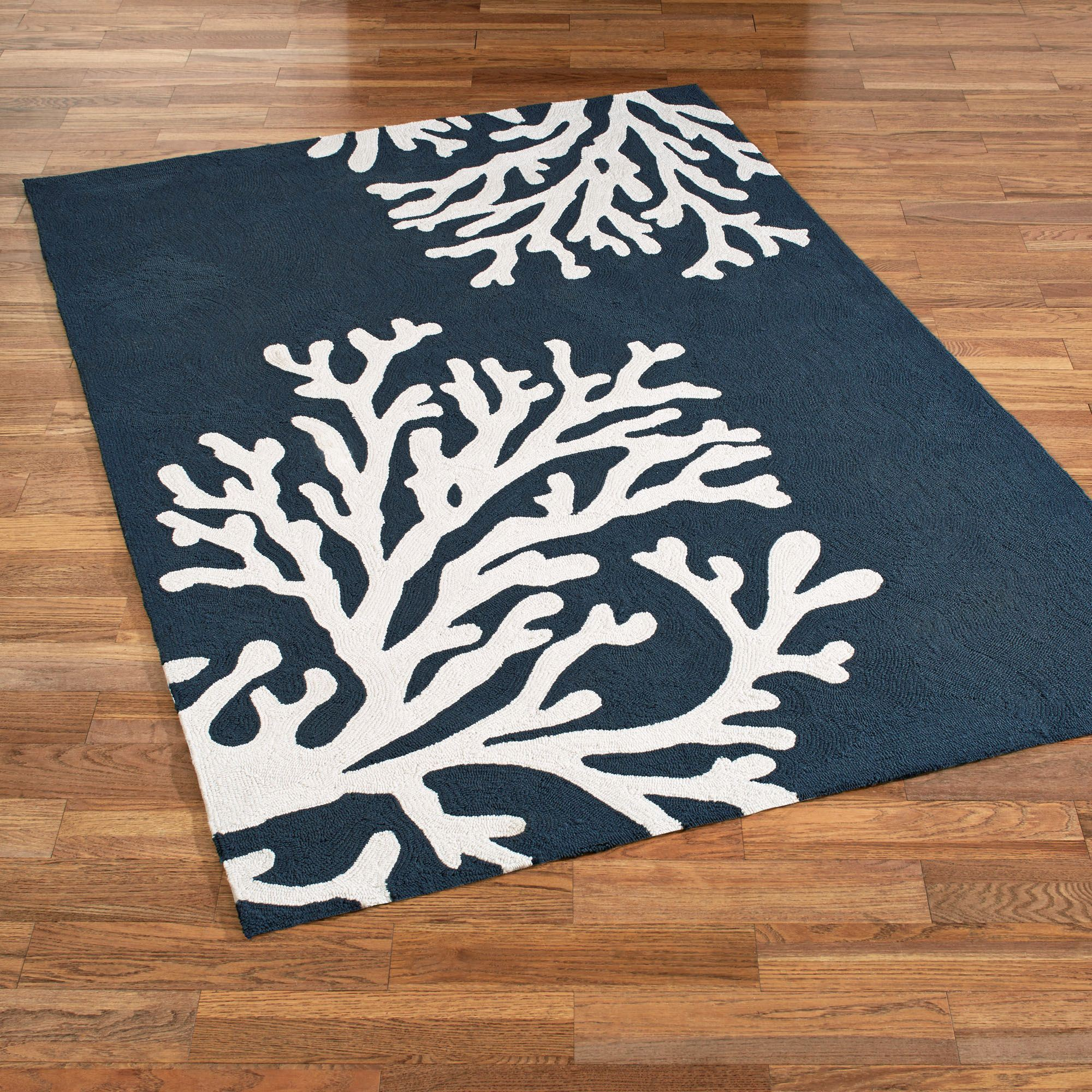 Bough Out Coral Design Indoor Outdoor Area Rugs