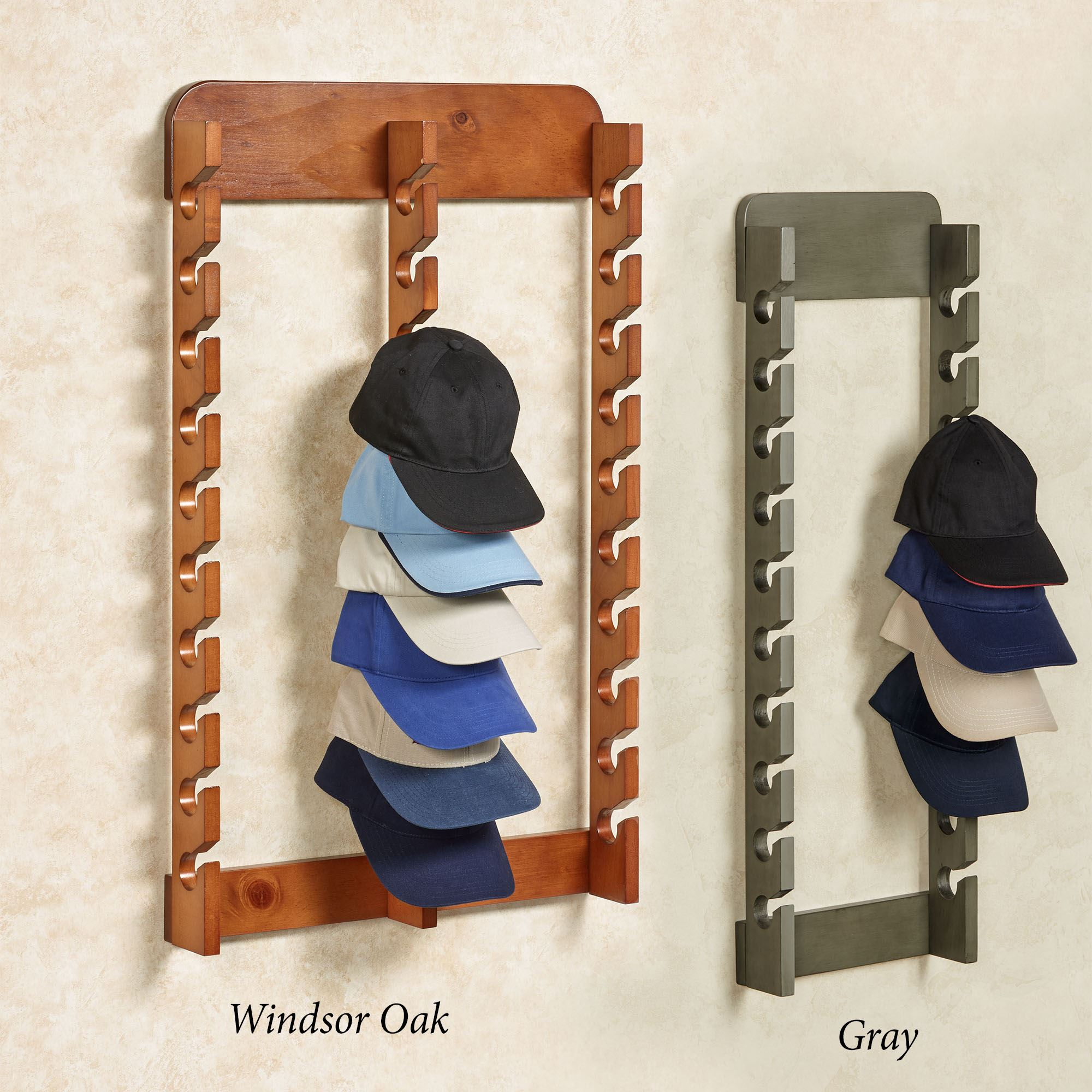 Wood Cap Display Wall Rack Holds Up To 30 Hats