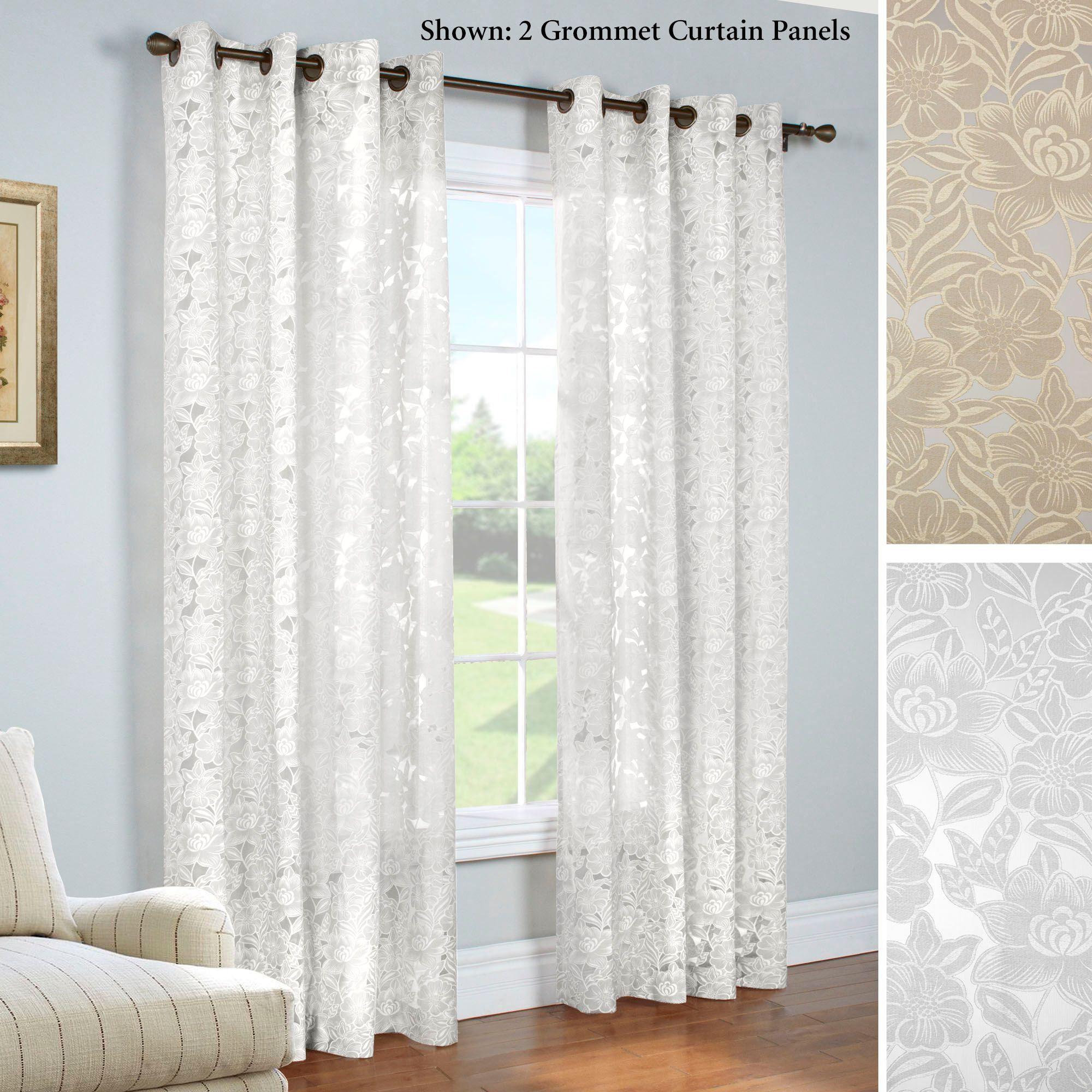 Carlotta Faux Burnout Semi Sheer Grommet Curtain Panels