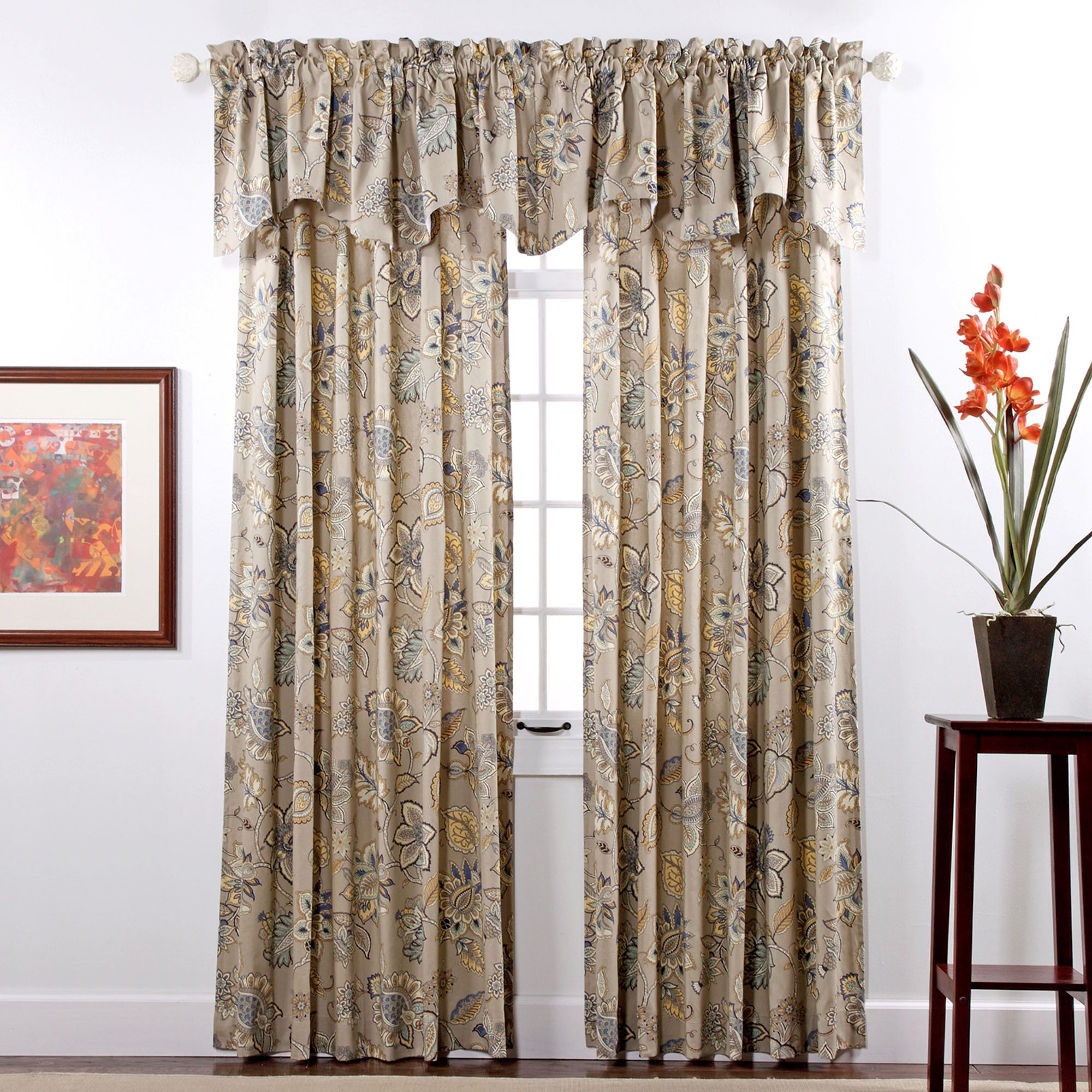 price printed x half hpd curtain drapes rust cotton com prct curtains orange panels kitchen dp amazon home