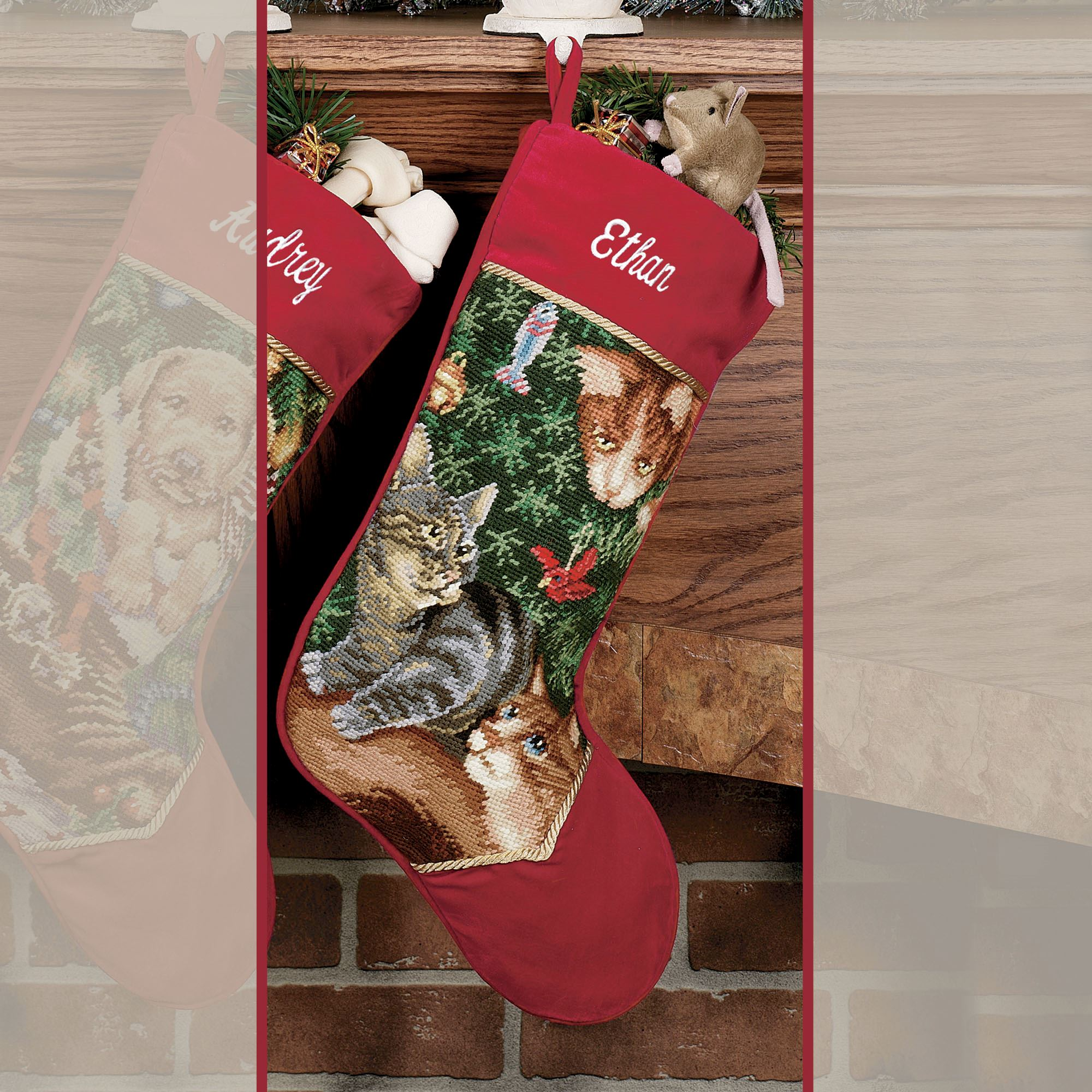 furry elves needlepoint stocking touch to zoom free personalization - Personalized Needlepoint Christmas Stockings