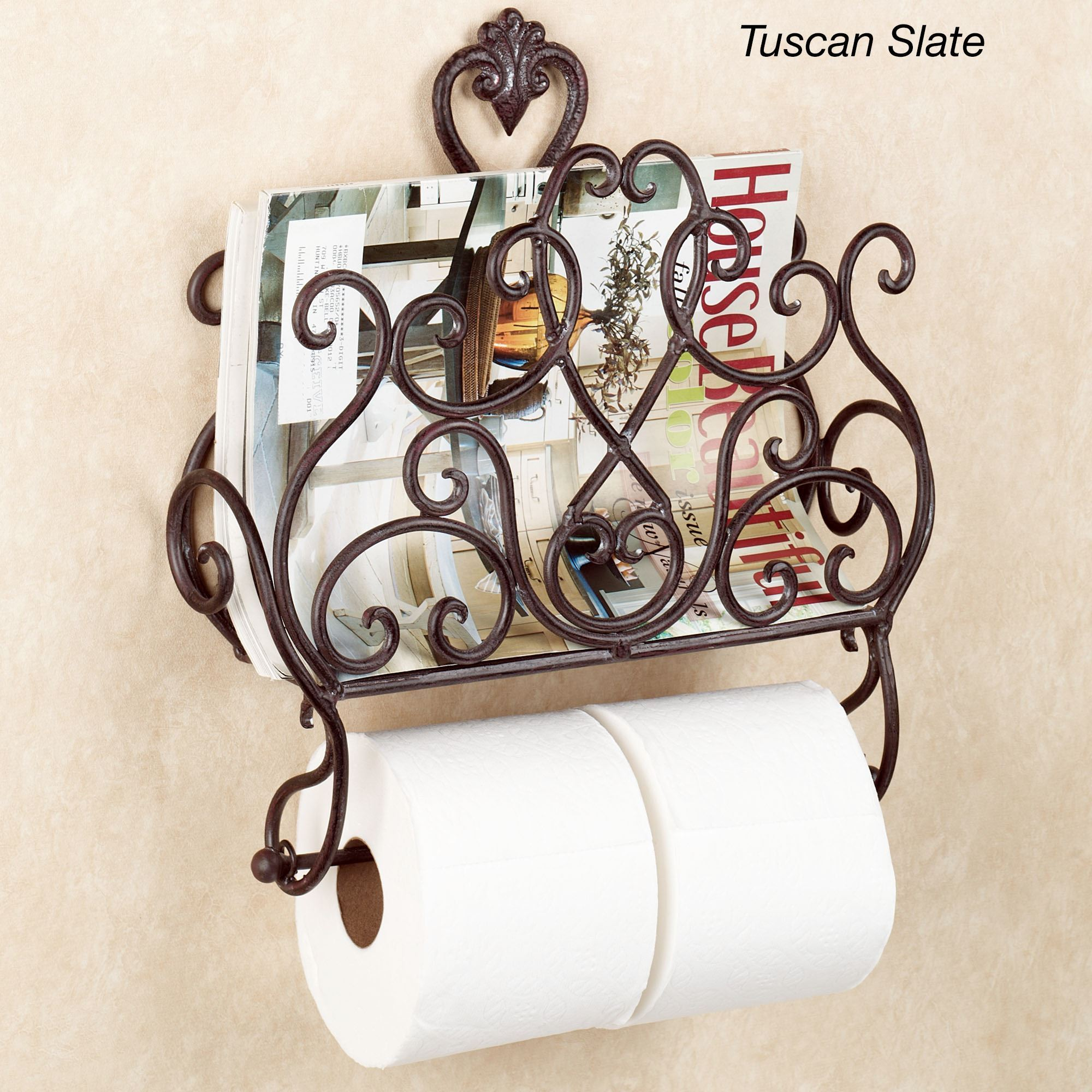aldabella wall magazine rack with toilet paper holder - Bathroom Accessories Toilet Paper Holders