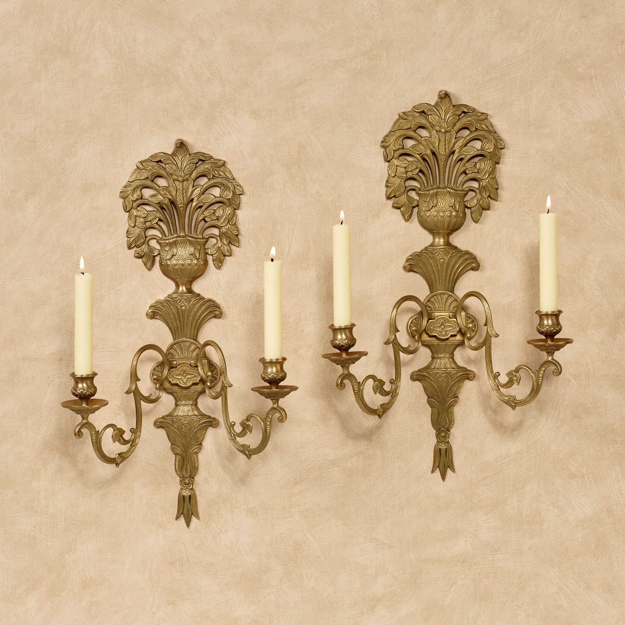 Double Taper Jaida Brass Wall Sconce Pair
