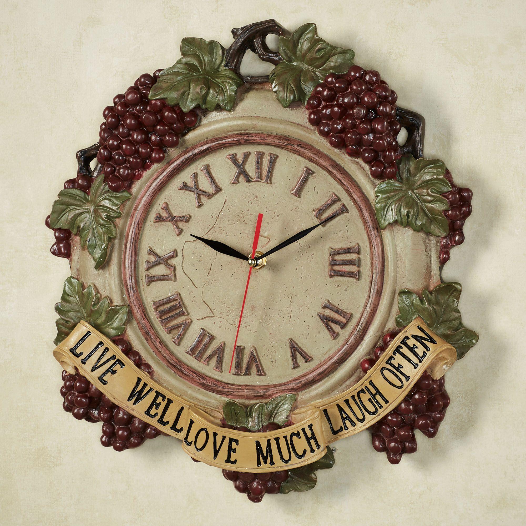 Live Love Laugh Grapes Wall Clock