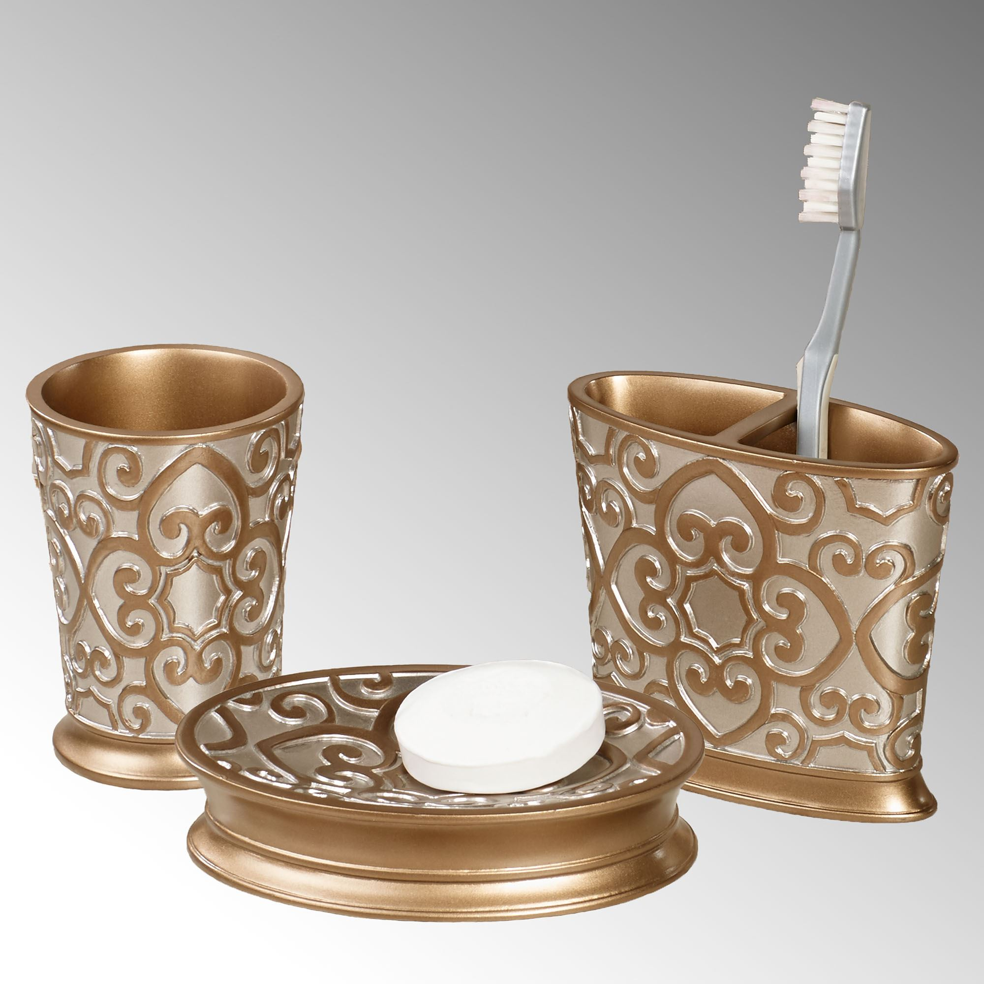 Allure silver and gold bath accessories for Gold bathroom accessories sets
