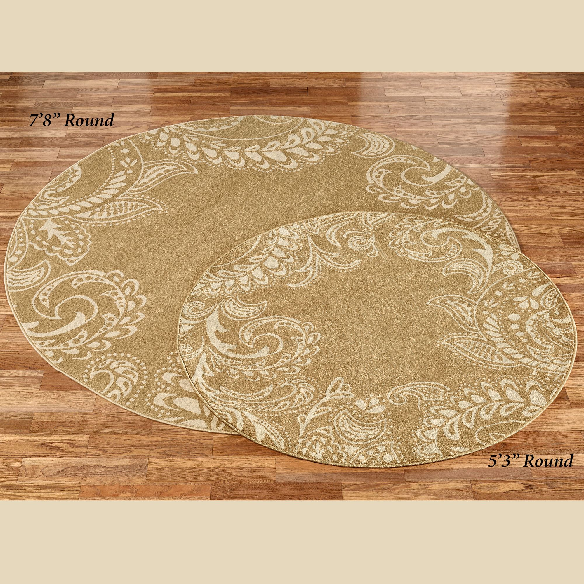 Ria Golden Bronze Paisley Round Rugs