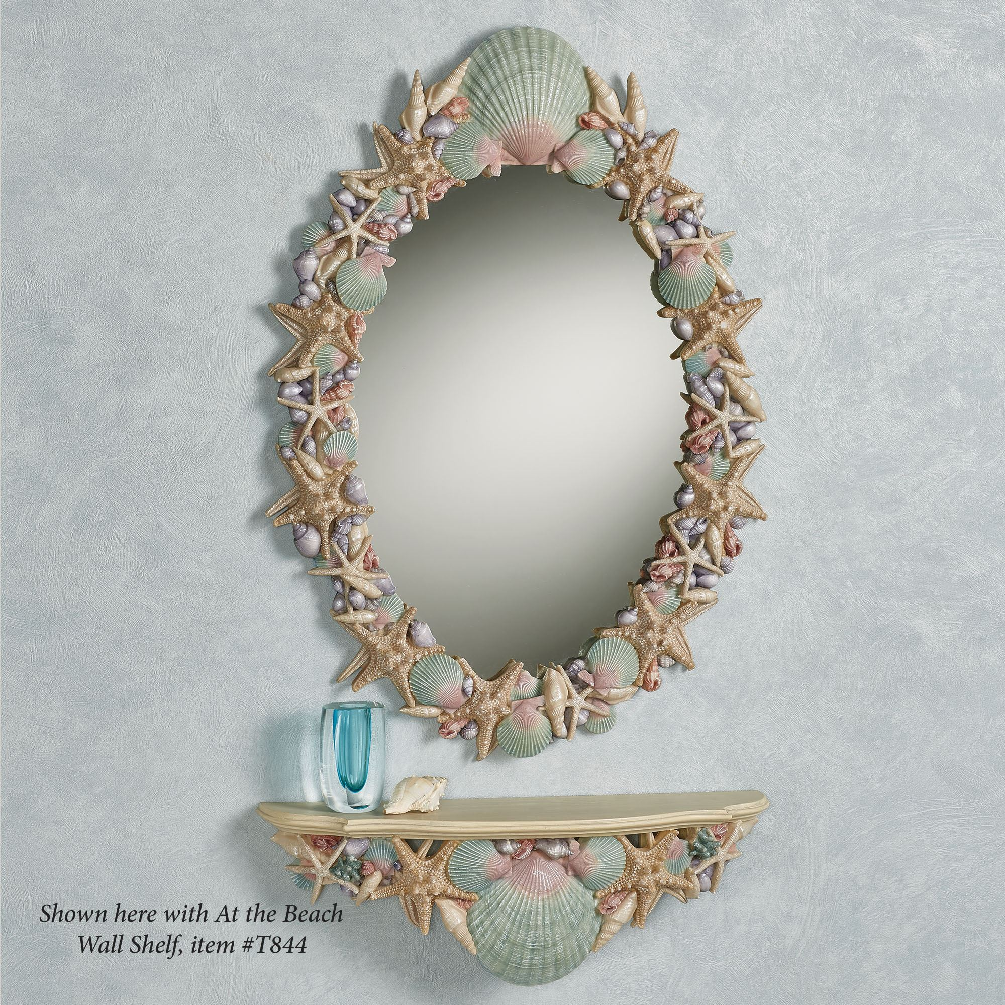 Coastal wall decor touch of class at the beach natural hued seashell wall mirror amipublicfo Choice Image