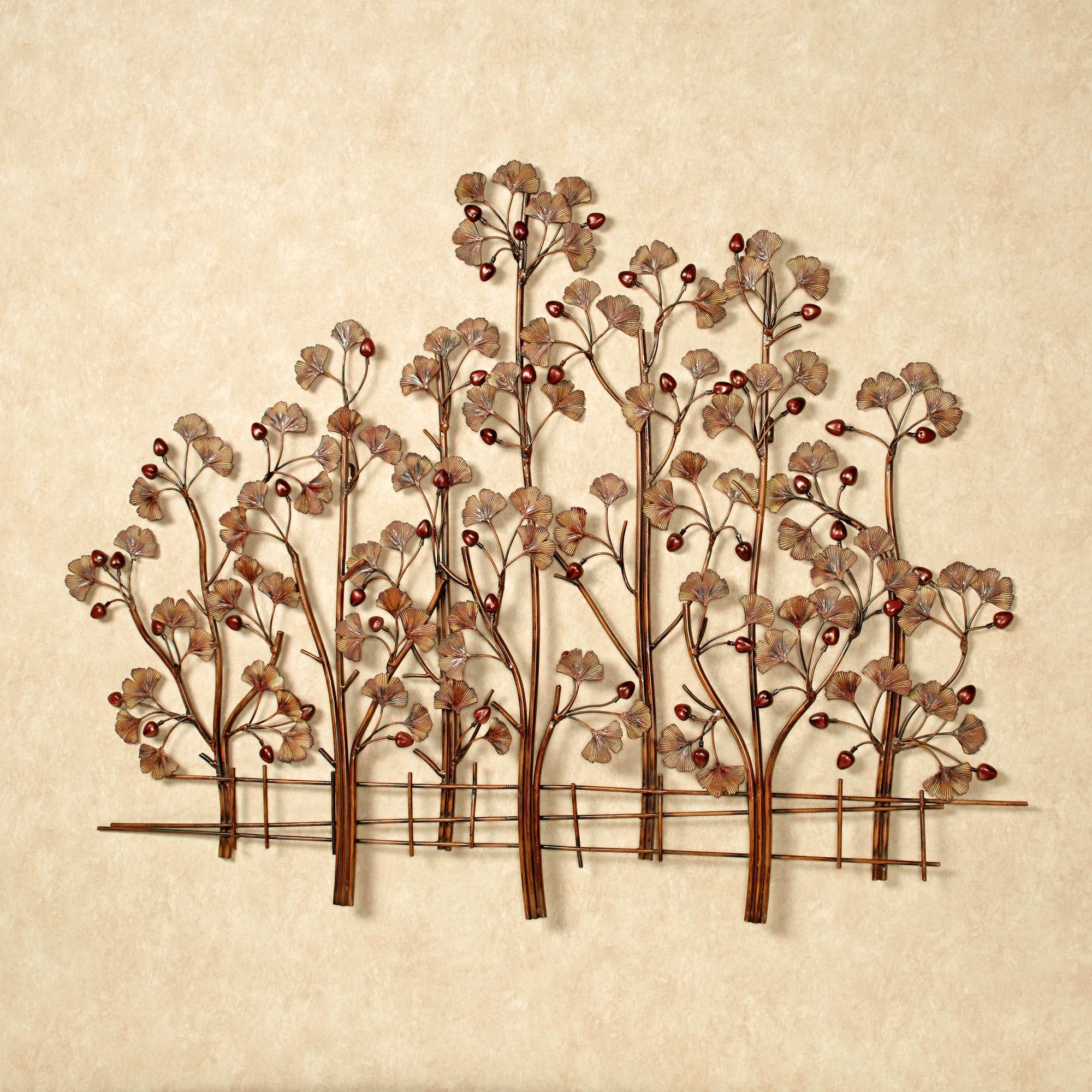 Ginkgo Metal Wall Sculpture Rustic Brown Click To Expand
