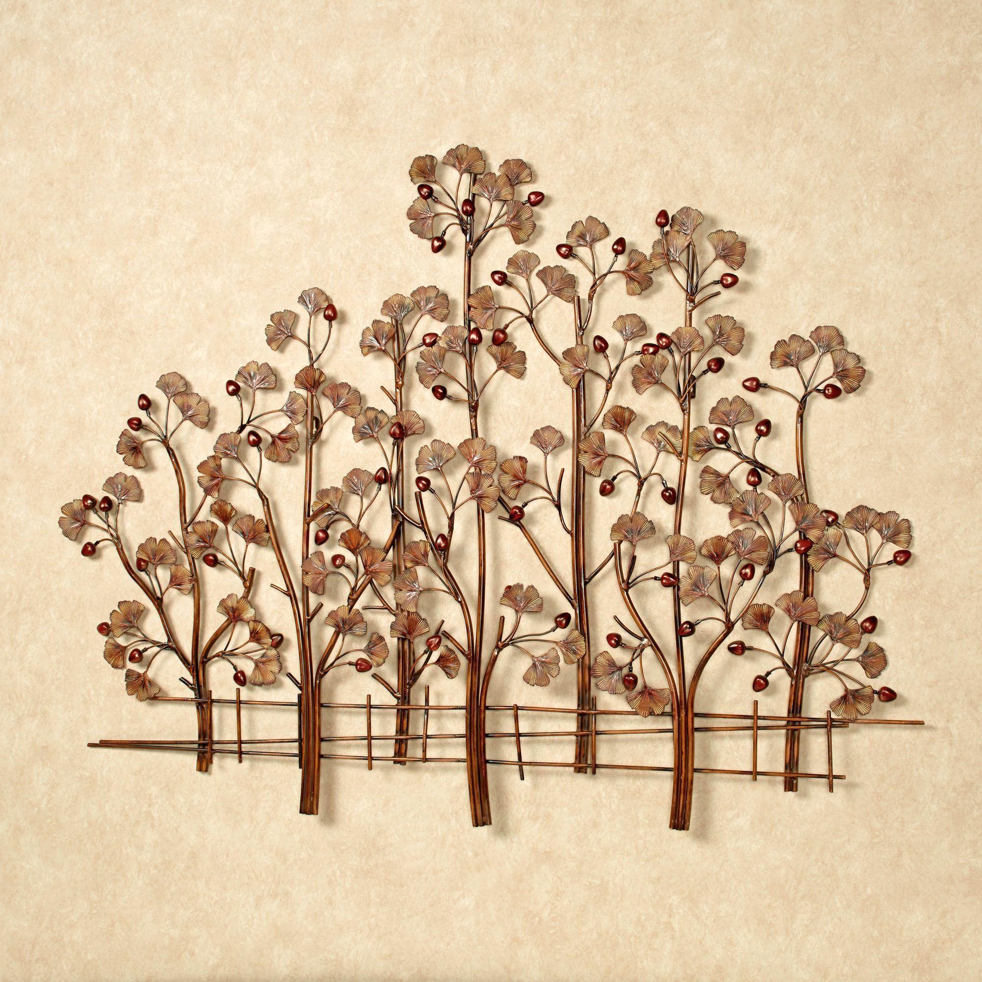 Rustic Metal Wall Art Sculptures Ginkgo Tree Metal Wall Sculpture