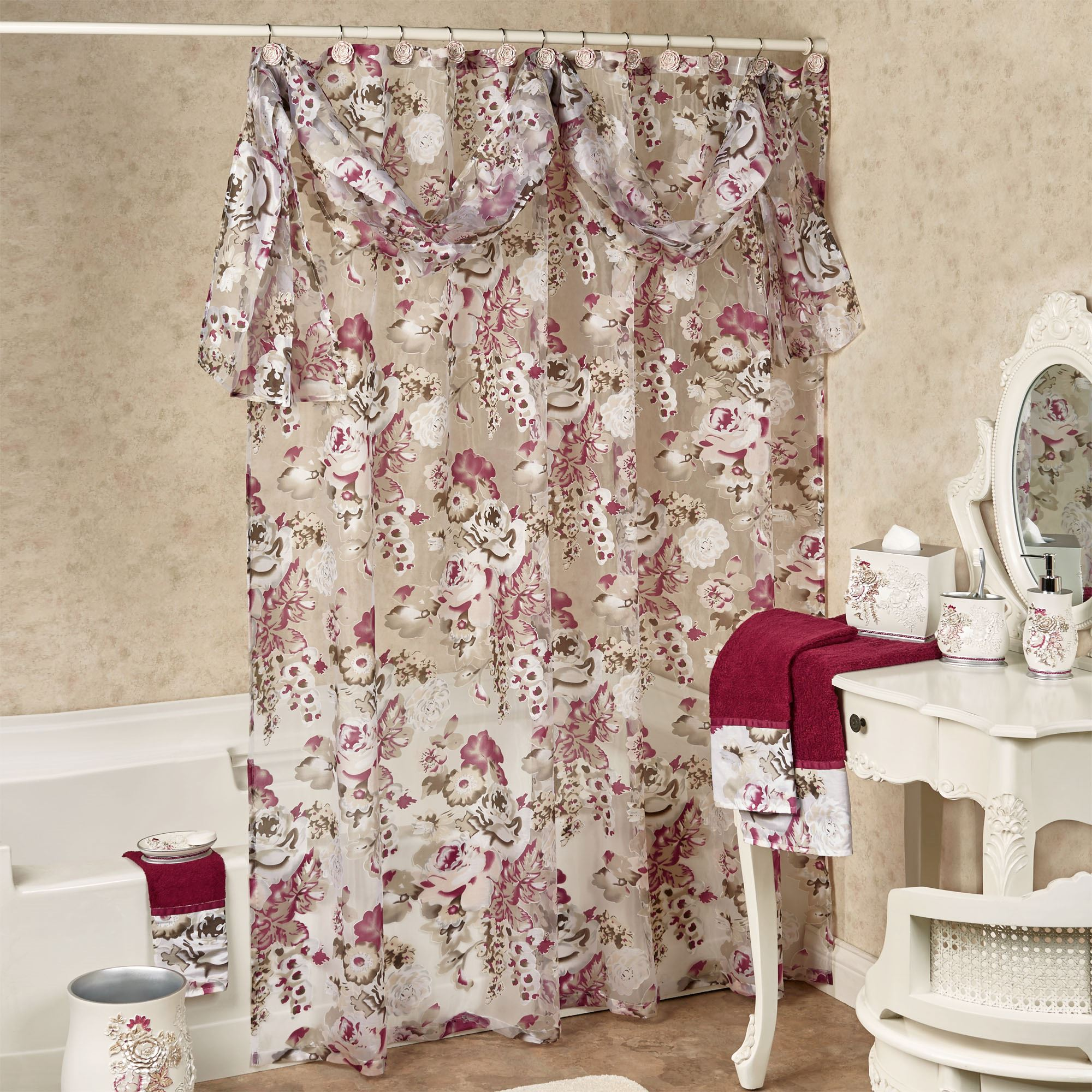sheer pin curtains curtain shower decor country bathroom