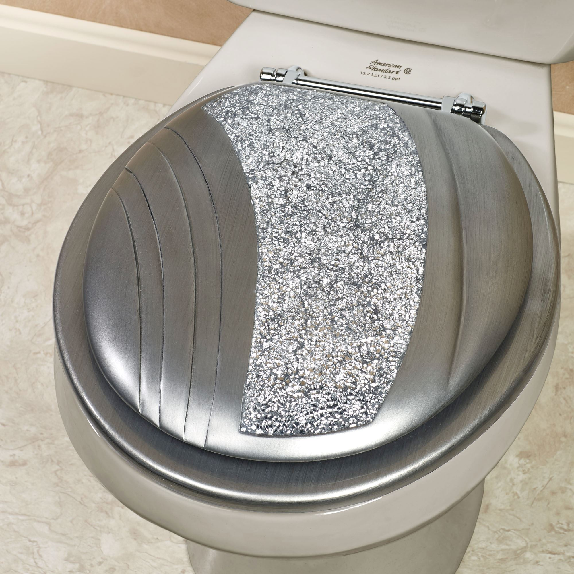Soft Touch Toilet Seat. Brilliance Mosaic Silver Gray Standard Toilet Seat Decorative Seats  Elongated Touch of Class