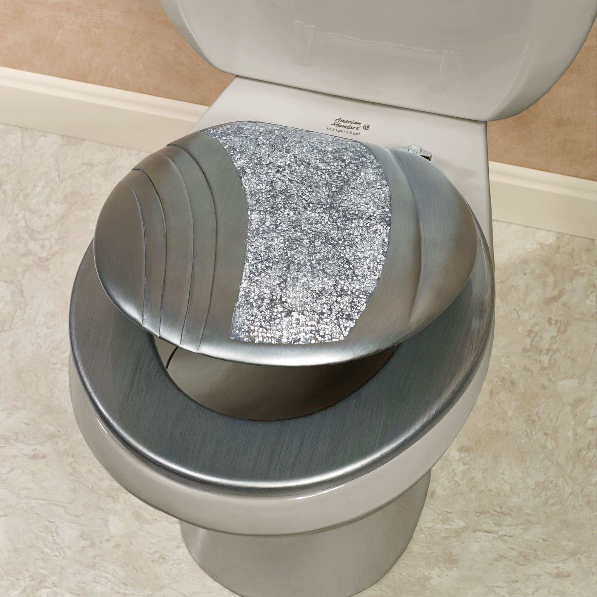 Strange Brilliance Mosaic Silver Gray Standard Toilet Seat Caraccident5 Cool Chair Designs And Ideas Caraccident5Info