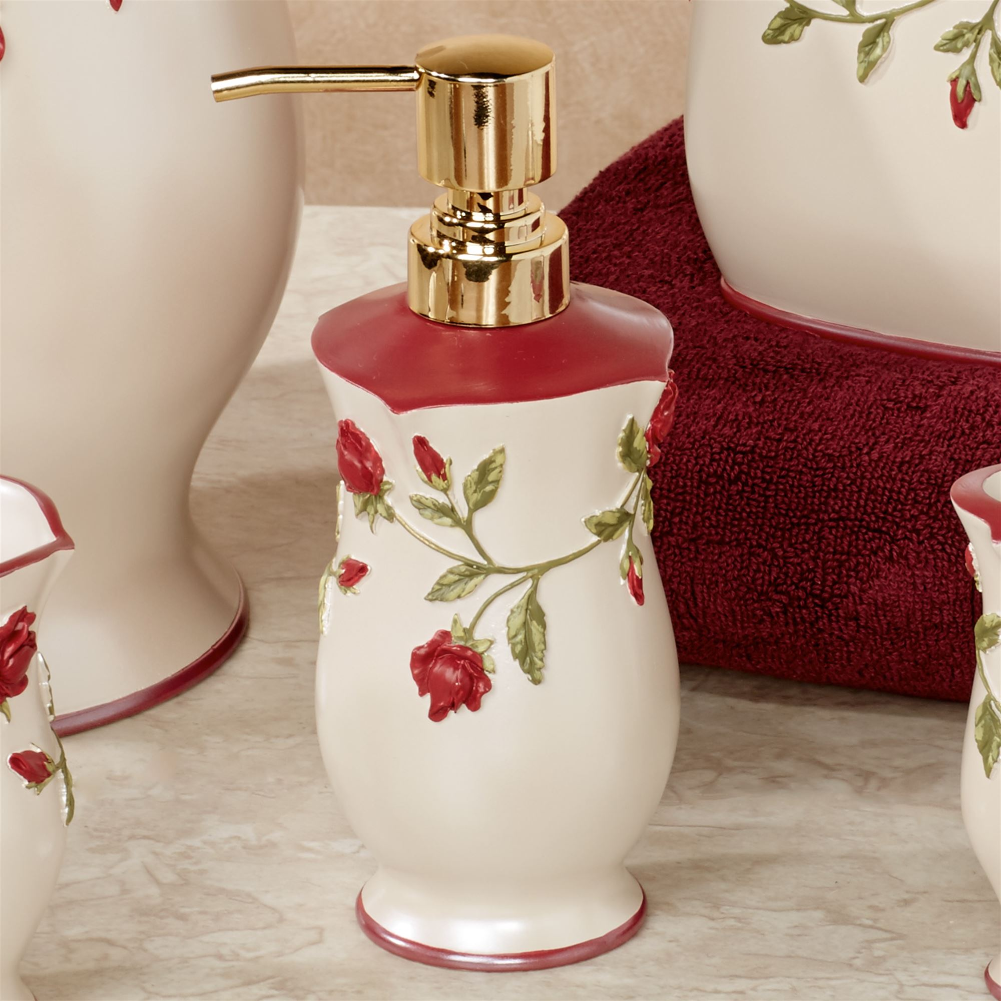 Red Rose Bathroom Accessories. Vining Rose Lotion Soap Dispenser Pearl